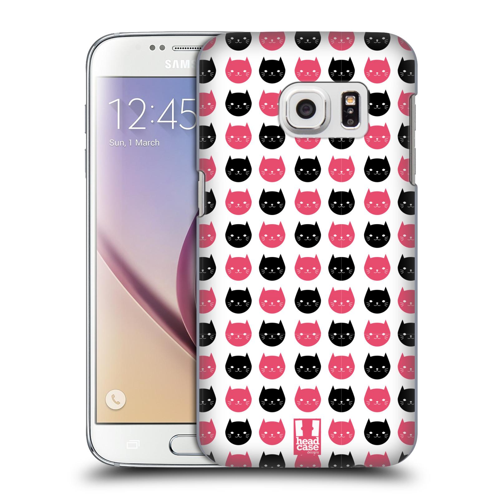 Plastové pouzdro na mobil Samsung Galaxy S7 HEAD CASE KOČKY Black and Pink (Kryt či obal na mobilní telefon Samsung Galaxy S7 SM-G930F)
