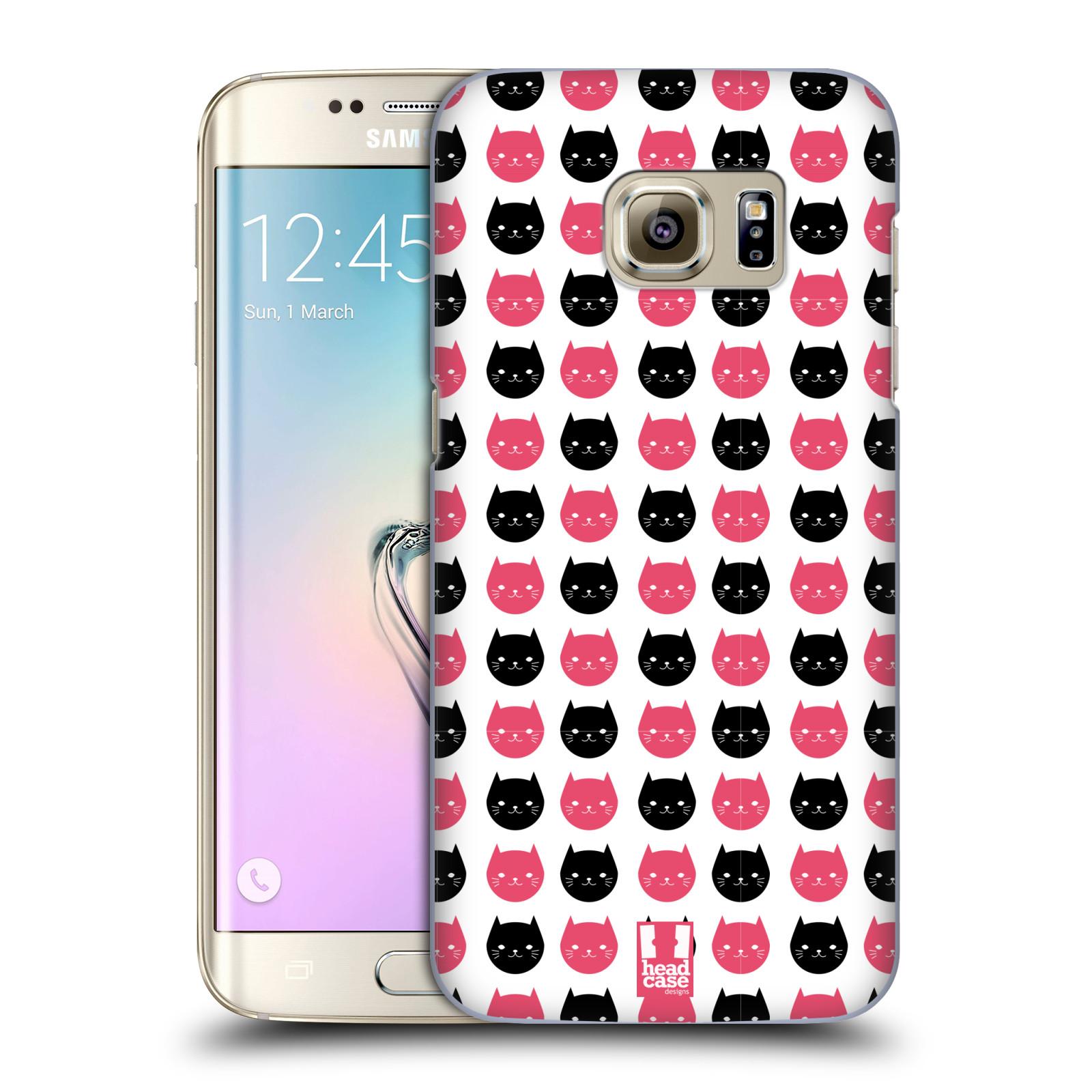 Plastové pouzdro na mobil Samsung Galaxy S7 Edge HEAD CASE KOČKY Black and Pink (Kryt či obal na mobilní telefon Samsung Galaxy S7 Edge SM-G935F)