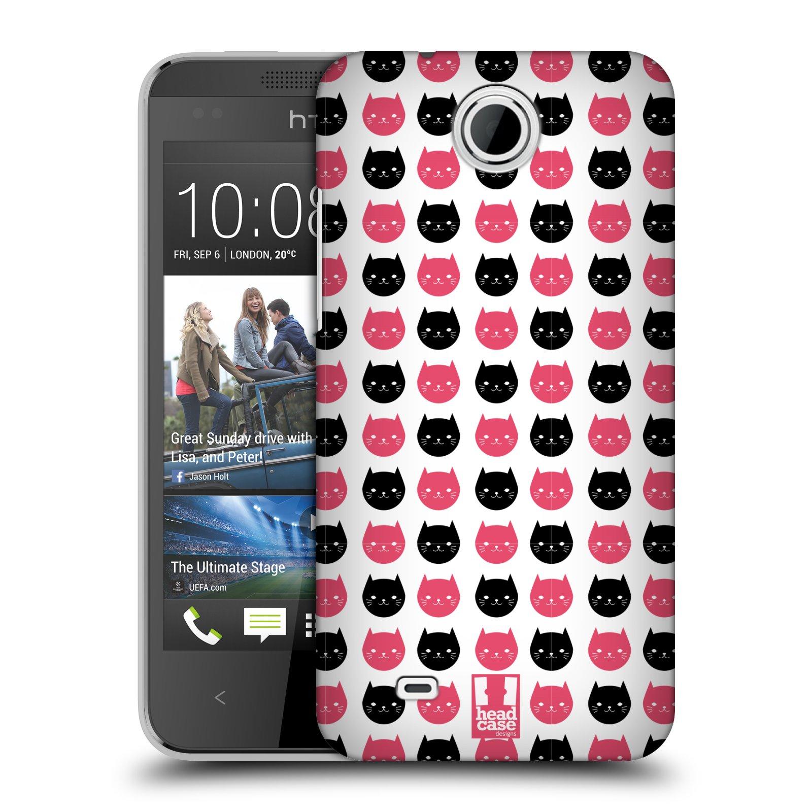 Plastové pouzdro na mobil HTC Desire 300 HEAD CASE KOČKY Black and Pink (Kryt či obal na mobilní telefon HTC Desire 300)