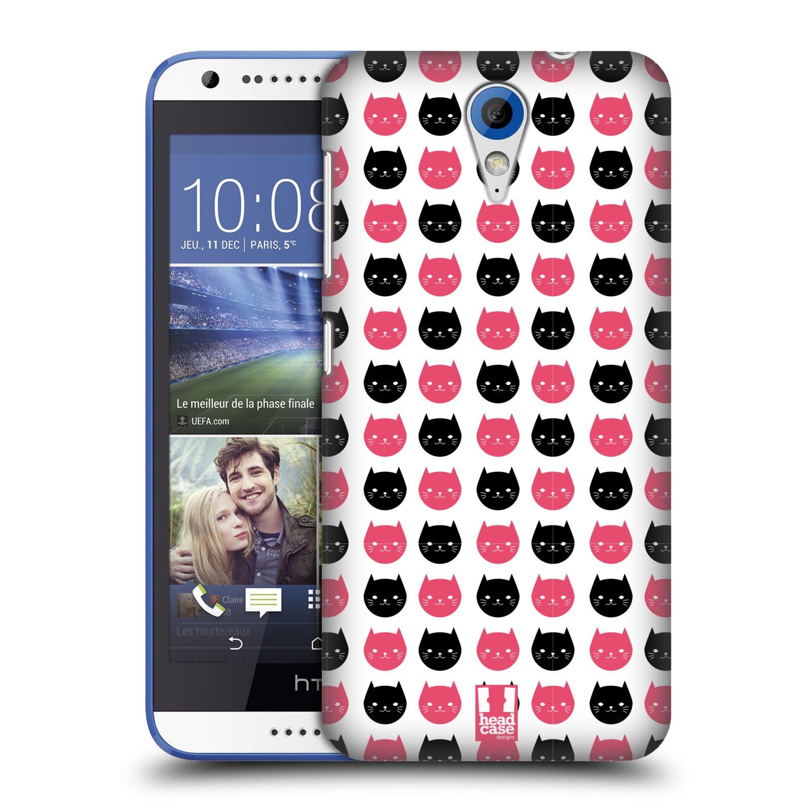 Plastové pouzdro na mobil HTC Desire 620 HEAD CASE KOČKY Black and Pink (Kryt či obal na mobilní telefon HTC Desire 620)