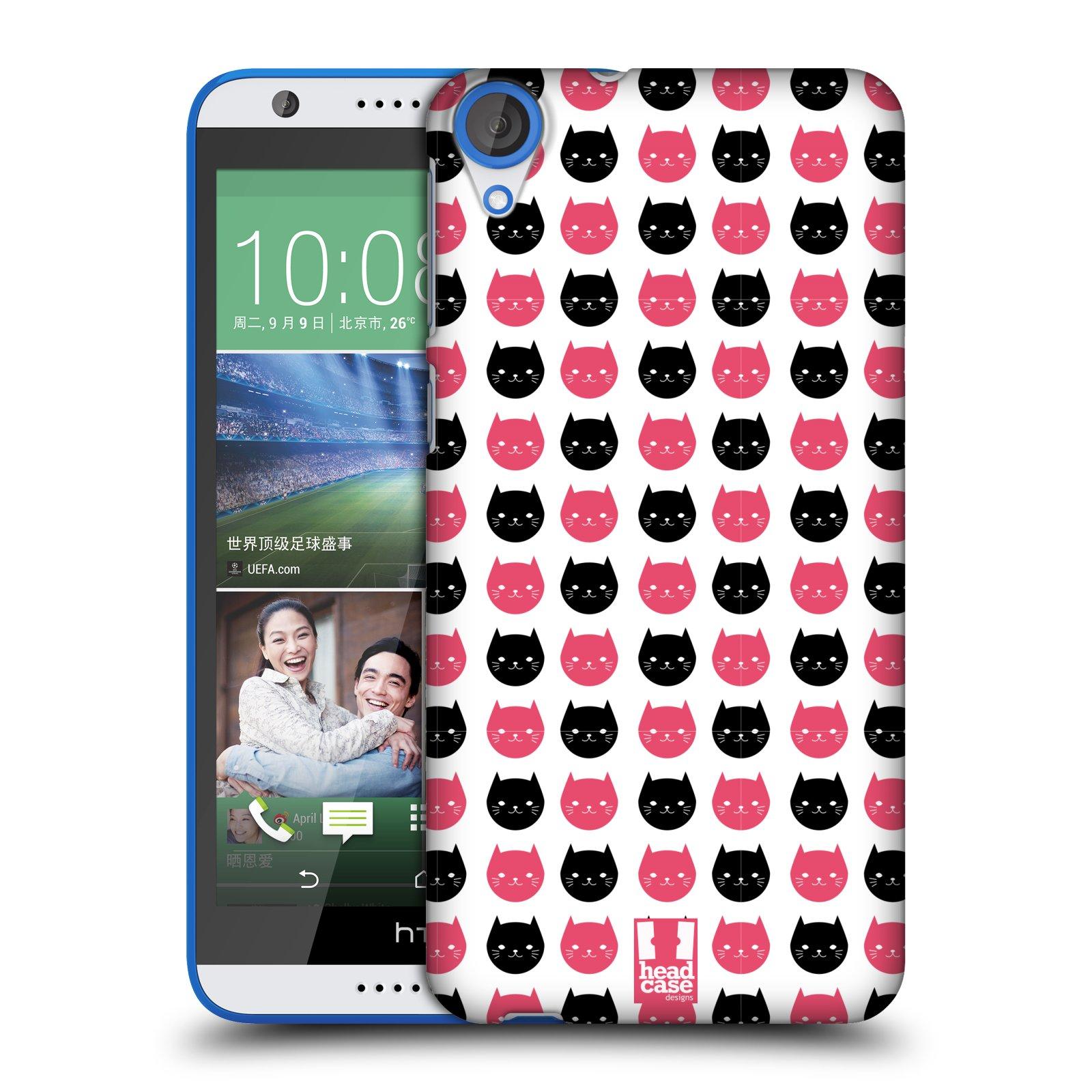 Plastové pouzdro na mobil HTC Desire 820 HEAD CASE KOČKY Black and Pink (Kryt či obal na mobilní telefon HTC Desire 820)