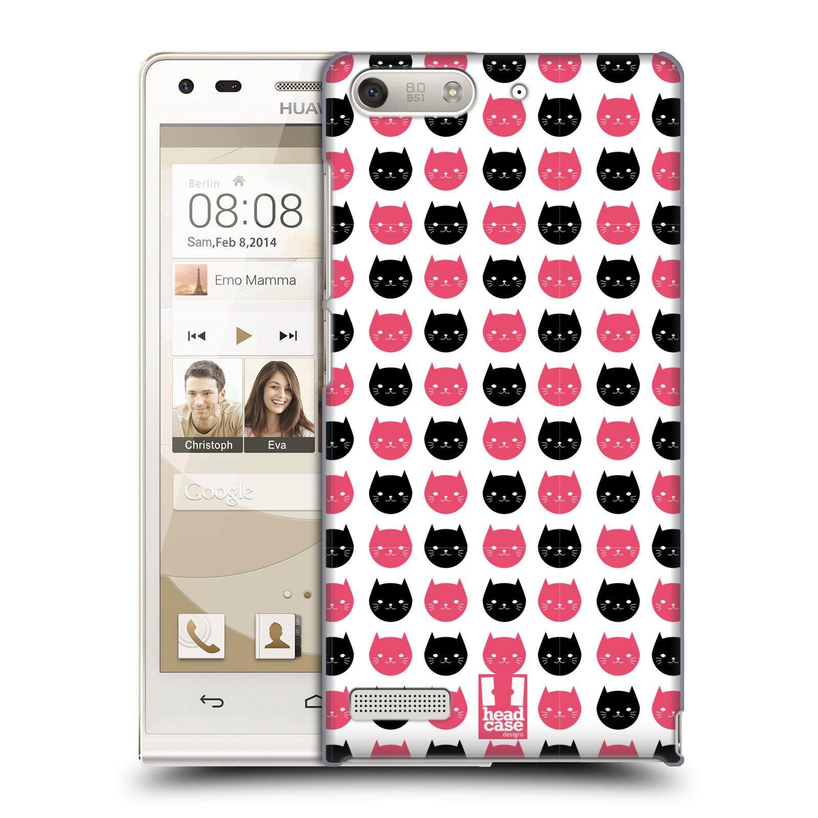 Plastové pouzdro na mobil Huawei Ascend G6 HEAD CASE KOČKY Black and Pink (Kryt či obal na mobilní telefon Huawei Ascend G6 bez LTE)