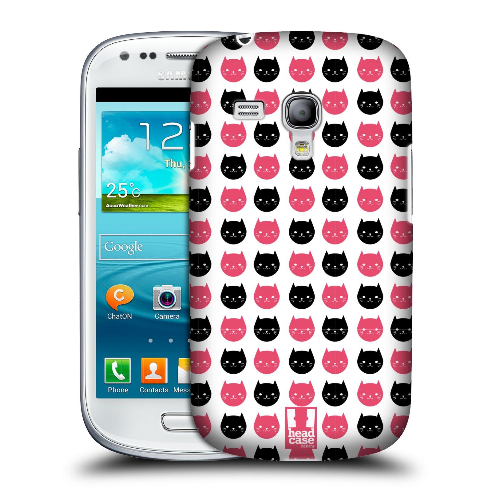 Plastové pouzdro na mobil Samsung Galaxy S3 Mini VE HEAD CASE KOČKY Black and Pink (Kryt či obal na mobilní telefon Samsung Galaxy S3 Mini VE GT-i8200)