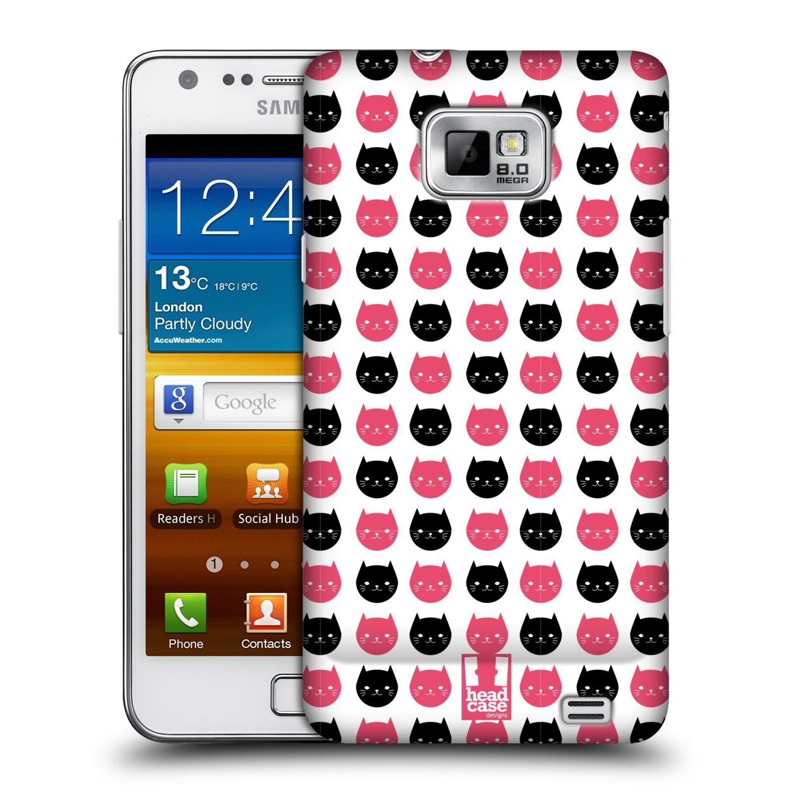 Plastové pouzdro na mobil Samsung Galaxy S II HEAD CASE KOČKY Black and Pink (Kryt či obal na mobilní telefon Samsung Galaxy S II GT-i9100)