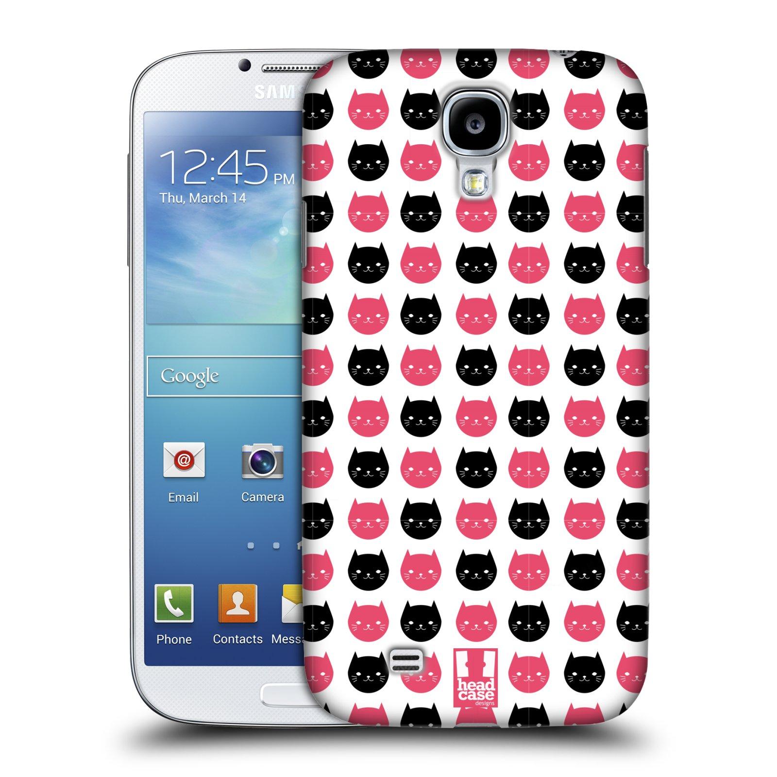 Plastové pouzdro na mobil Samsung Galaxy S4 HEAD CASE KOČKY Black and Pink (Kryt či obal na mobilní telefon Samsung Galaxy S4 GT-i9505 / i9500)