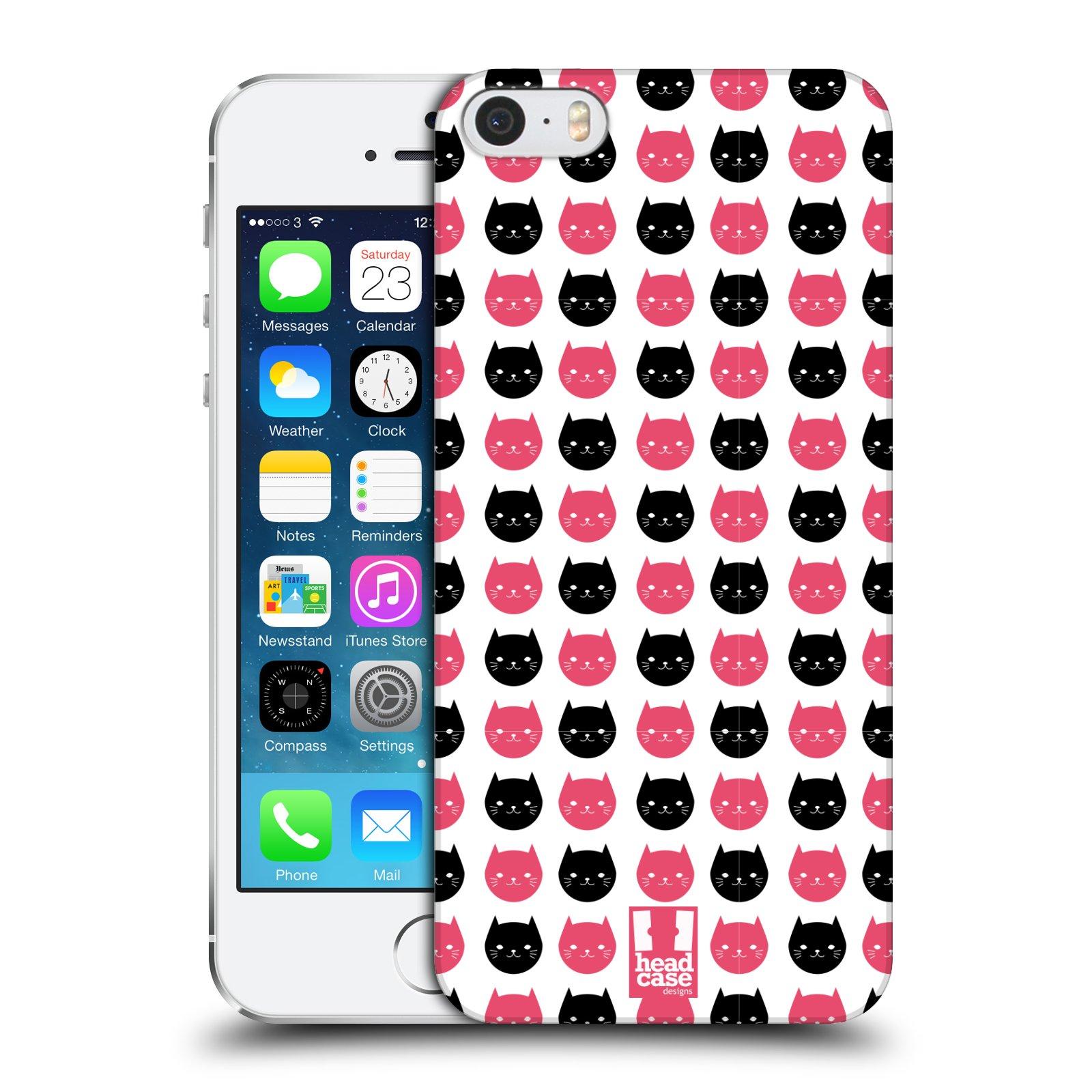 Plastové pouzdro na mobil Apple iPhone SE, 5 a 5S HEAD CASE KOČKY Black and Pink (Kryt či obal na mobilní telefon Apple iPhone SE, 5 a 5S)