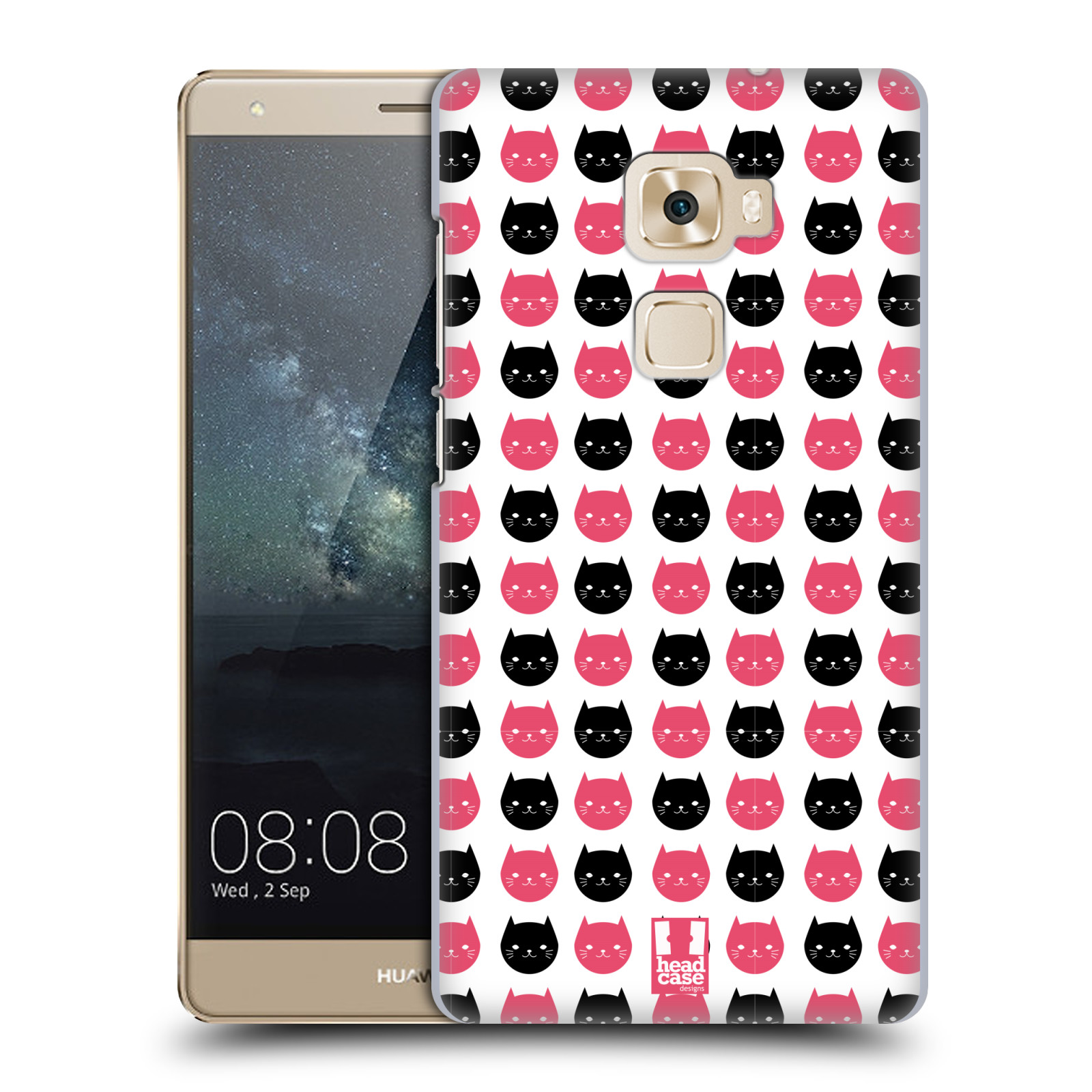 Plastové pouzdro na mobil Huawei Mate S HEAD CASE KOČKY Black and Pink (Plastový kryt či obal na mobilní telefon Huawei Mate S)