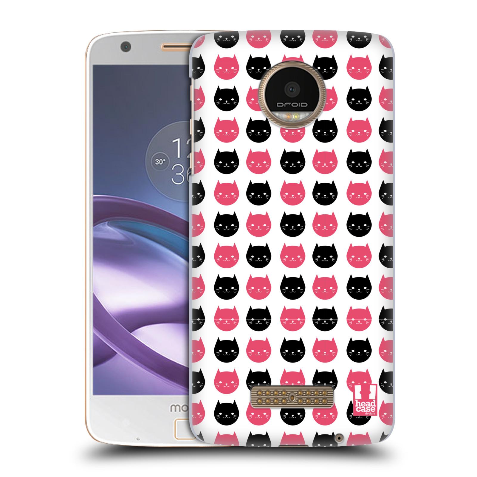 Plastové pouzdro na mobil Lenovo Moto Z HEAD CASE KOČKY Black and Pink (Plastový kryt či obal na mobilní telefon Lenovo Moto Z)