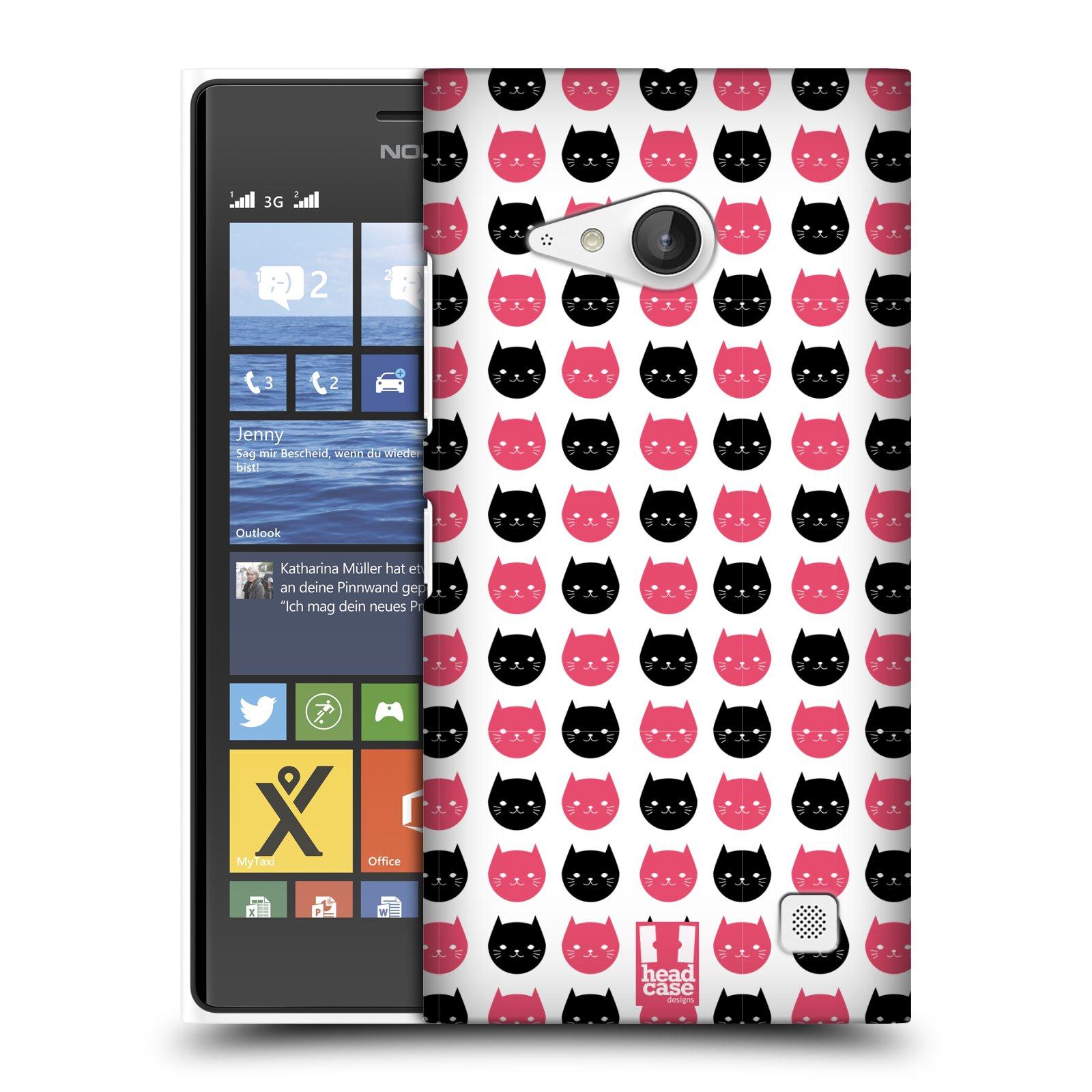Plastové pouzdro na mobil Nokia Lumia 735 HEAD CASE KOČKY Black and Pink (Kryt či obal na mobilní telefon Nokia Lumia 735)