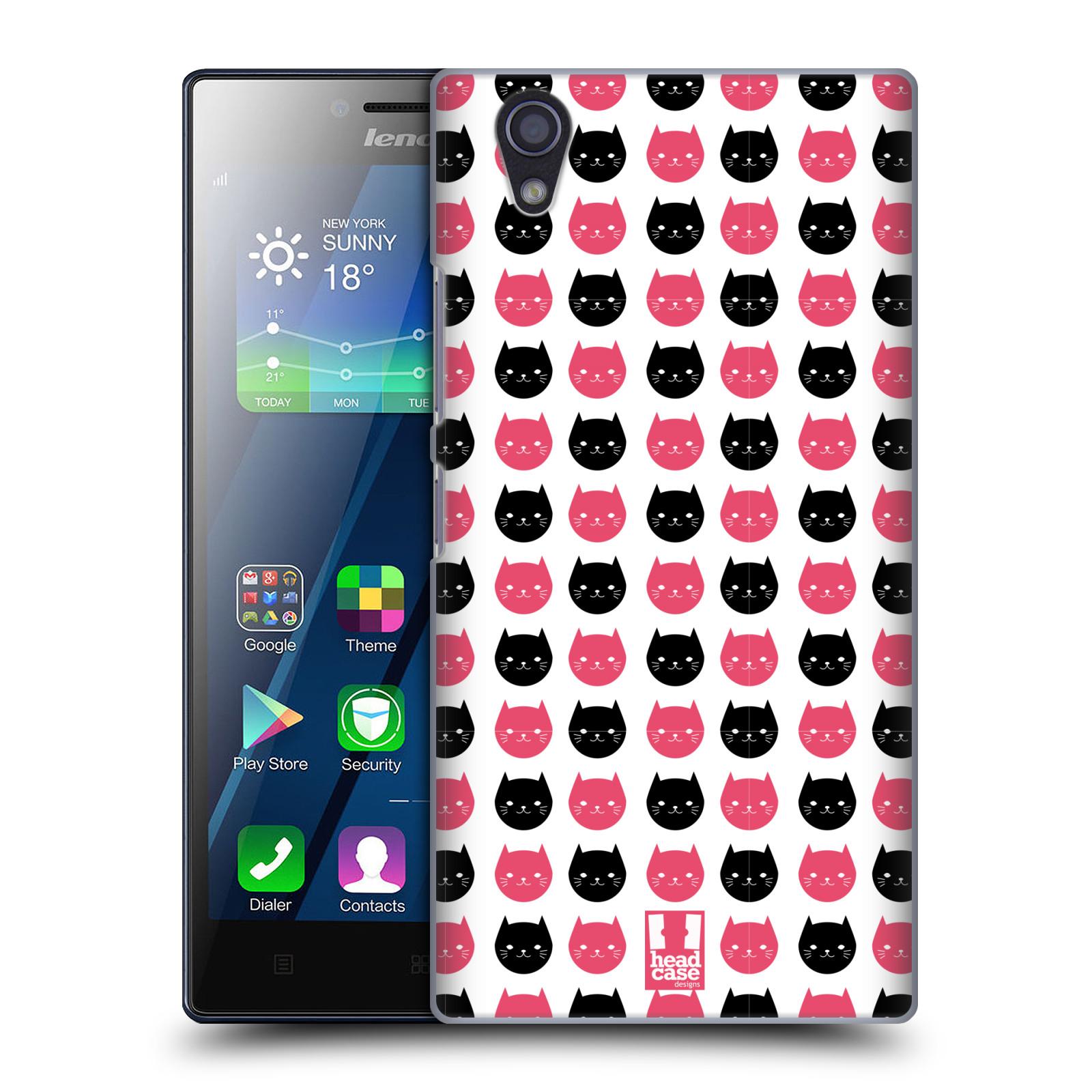 Plastové pouzdro na mobil Lenovo P70 HEAD CASE KOČKY Black and Pink (Kryt či obal na mobilní telefon Lenovo P70)