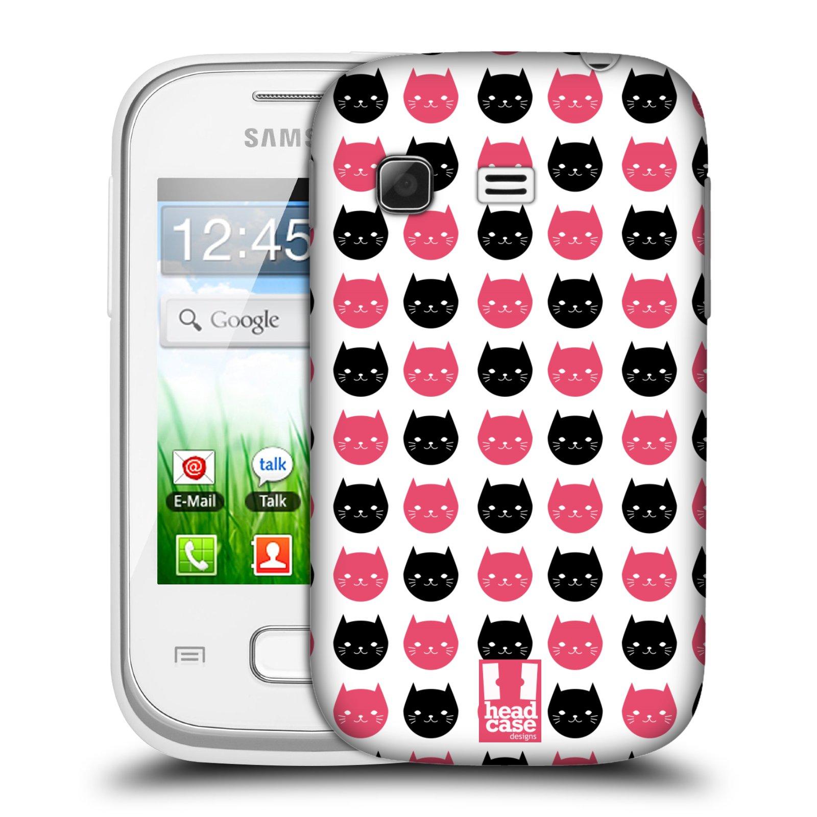 Plastové pouzdro na mobil Samsung Galaxy Pocket HEAD CASE KOČKY Black and Pink (Kryt či obal na mobilní telefon Samsung Galaxy Pocket GT-S5300)