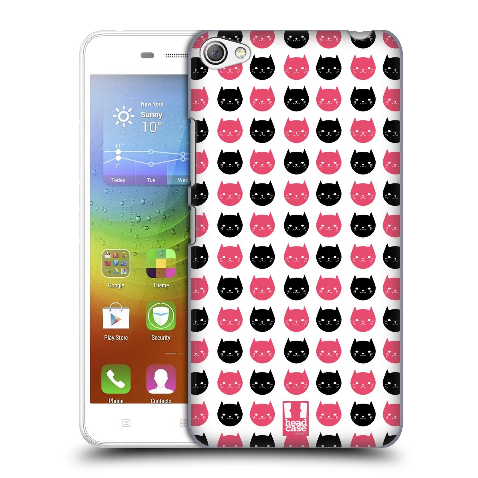 Plastové pouzdro na mobil Lenovo S60 HEAD CASE KOČKY Black and Pink (Kryt či obal na mobilní telefon Lenovo S60)