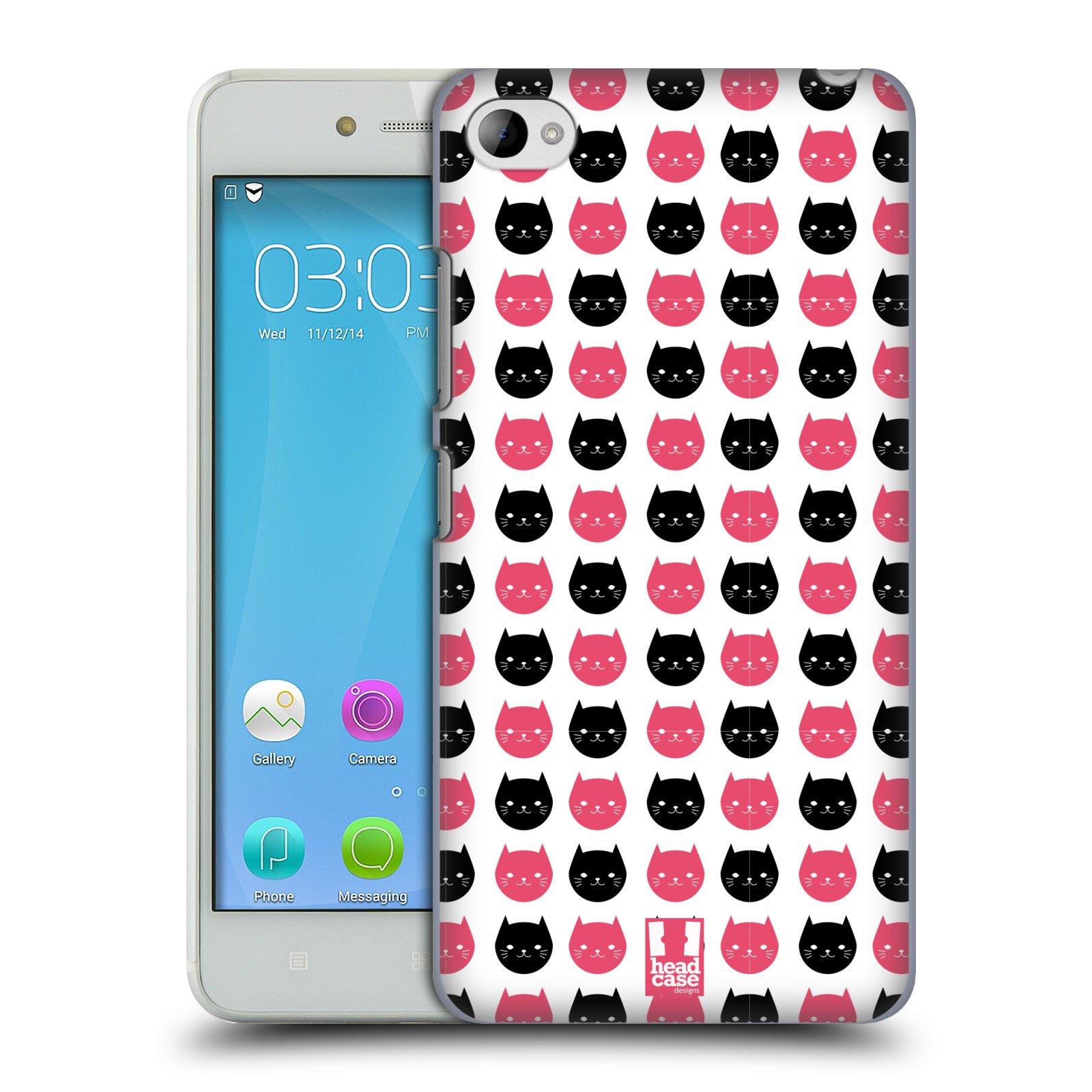 Plastové pouzdro na mobil Lenovo S90 HEAD CASE KOČKY Black and Pink (Kryt či obal na mobilní telefon Lenovo S90)