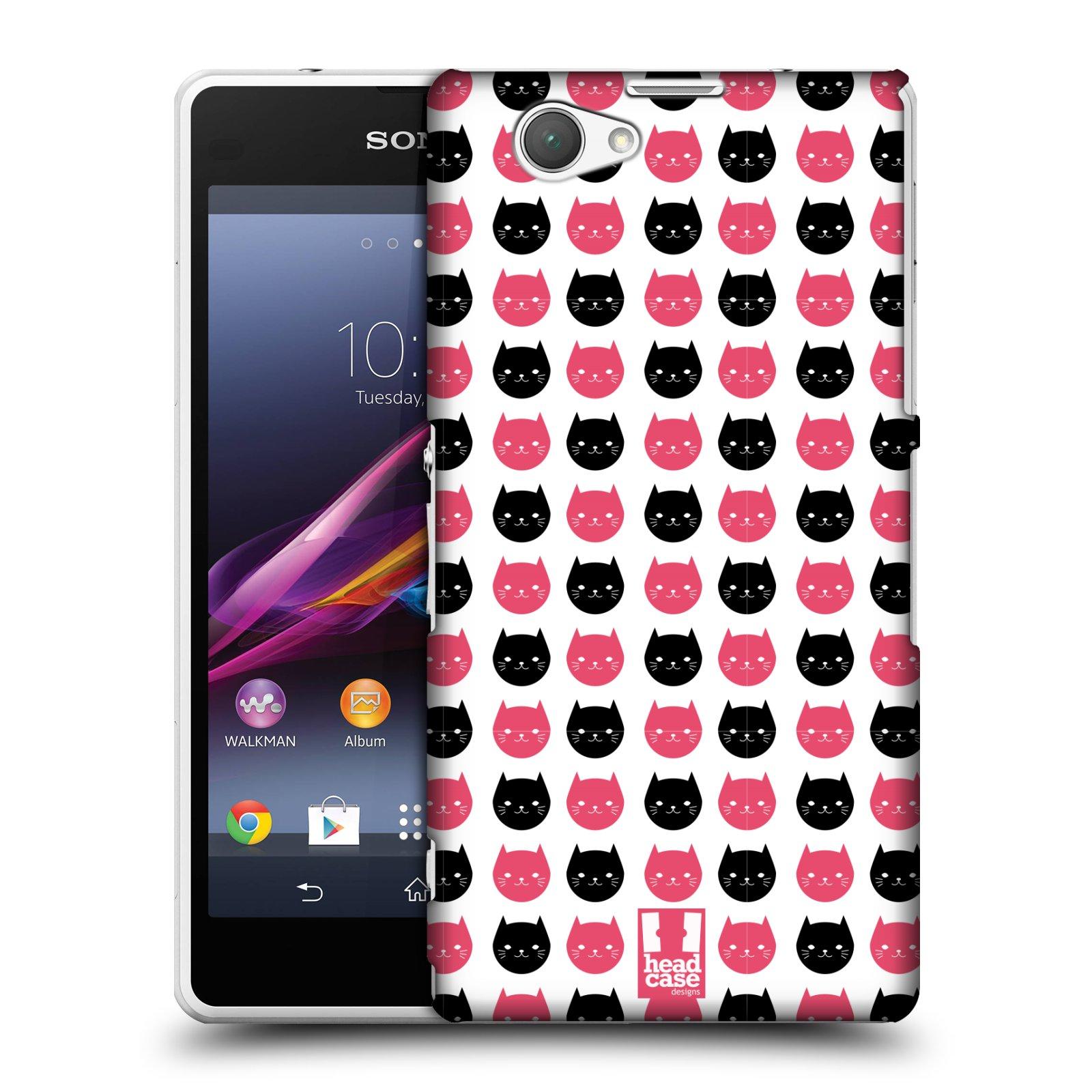 Plastové pouzdro na mobil Sony Xperia Z1 Compact D5503 HEAD CASE KOČKY Black and Pink (Kryt či obal na mobilní telefon Sony Xperia Z1 Compact )