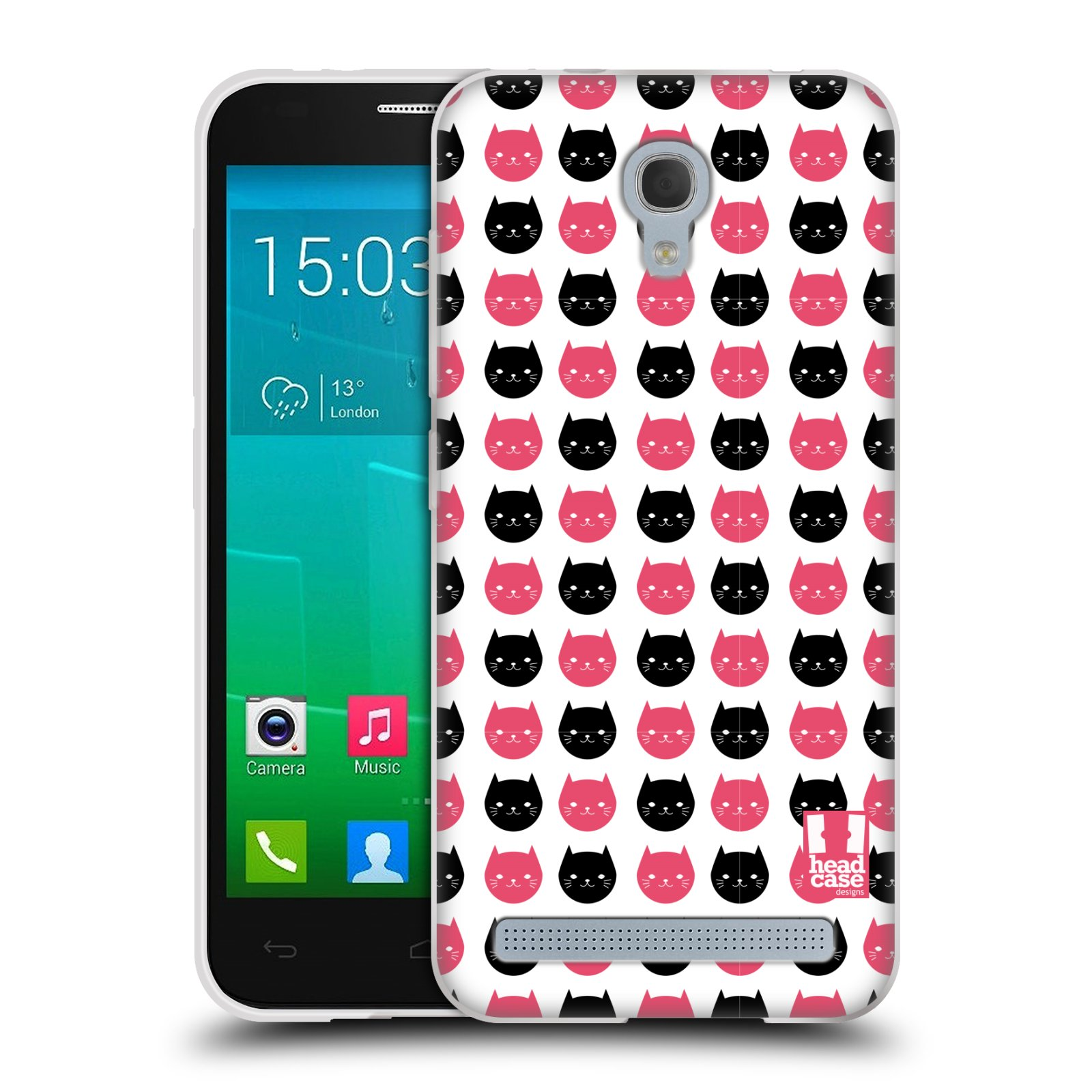 Silikonové pouzdro na mobil Alcatel One Touch Idol 2 Mini S 6036Y HEAD CASE KOČKY Black and Pink (Silikonový kryt či obal na mobilní telefon Alcatel Idol 2 Mini S OT-6036Y)