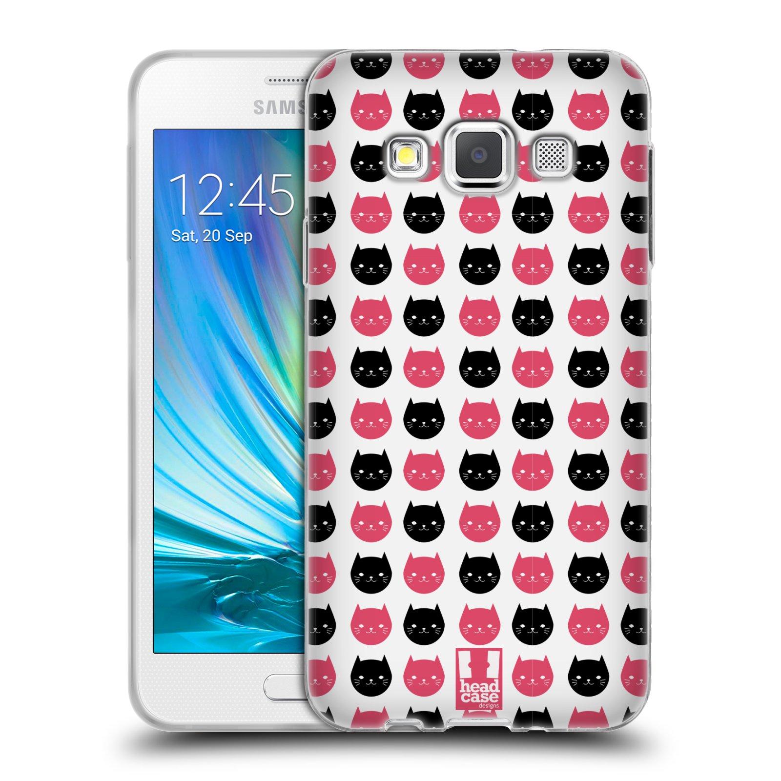 Silikonové pouzdro na mobil Samsung Galaxy A3 HEAD CASE KOČKY Black and Pink