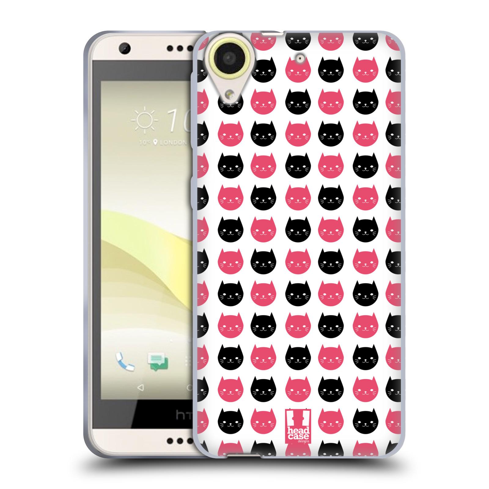 Silikonové pouzdro na mobil HTC Desire 650 HEAD CASE KOČKY Black and Pink (Silikonový kryt či obal na mobilní telefon HTC Desire 650)