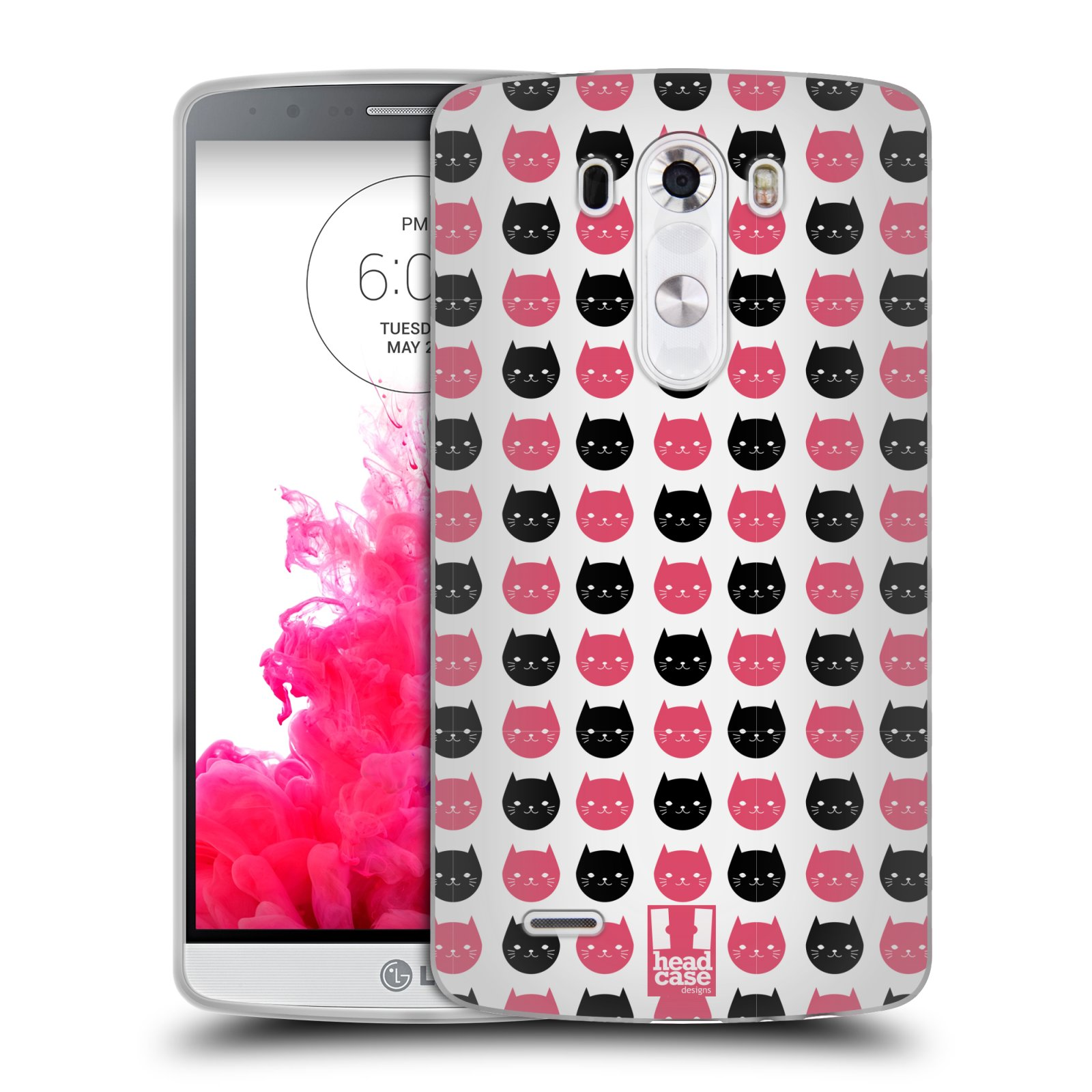 Silikonové pouzdro na mobil LG G3 HEAD CASE KOČKY Black and Pink (Silikonový kryt či obal na mobilní telefon LG G3 D855)