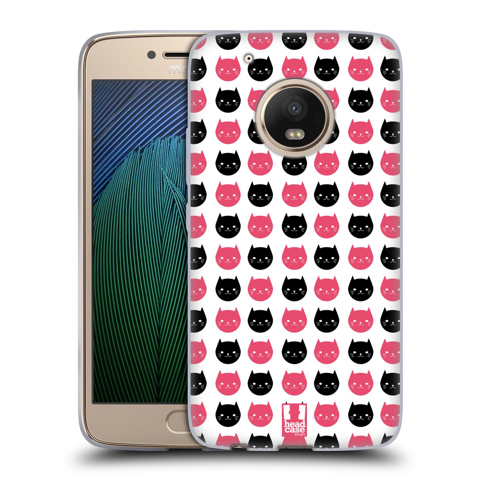 Silikonové pouzdro na mobil Lenovo Moto G5 Plus - Head Case KOČKY Black and Pink (Silikonový kryt či obal na mobilní telefon Lenovo Moto G5 Plus)