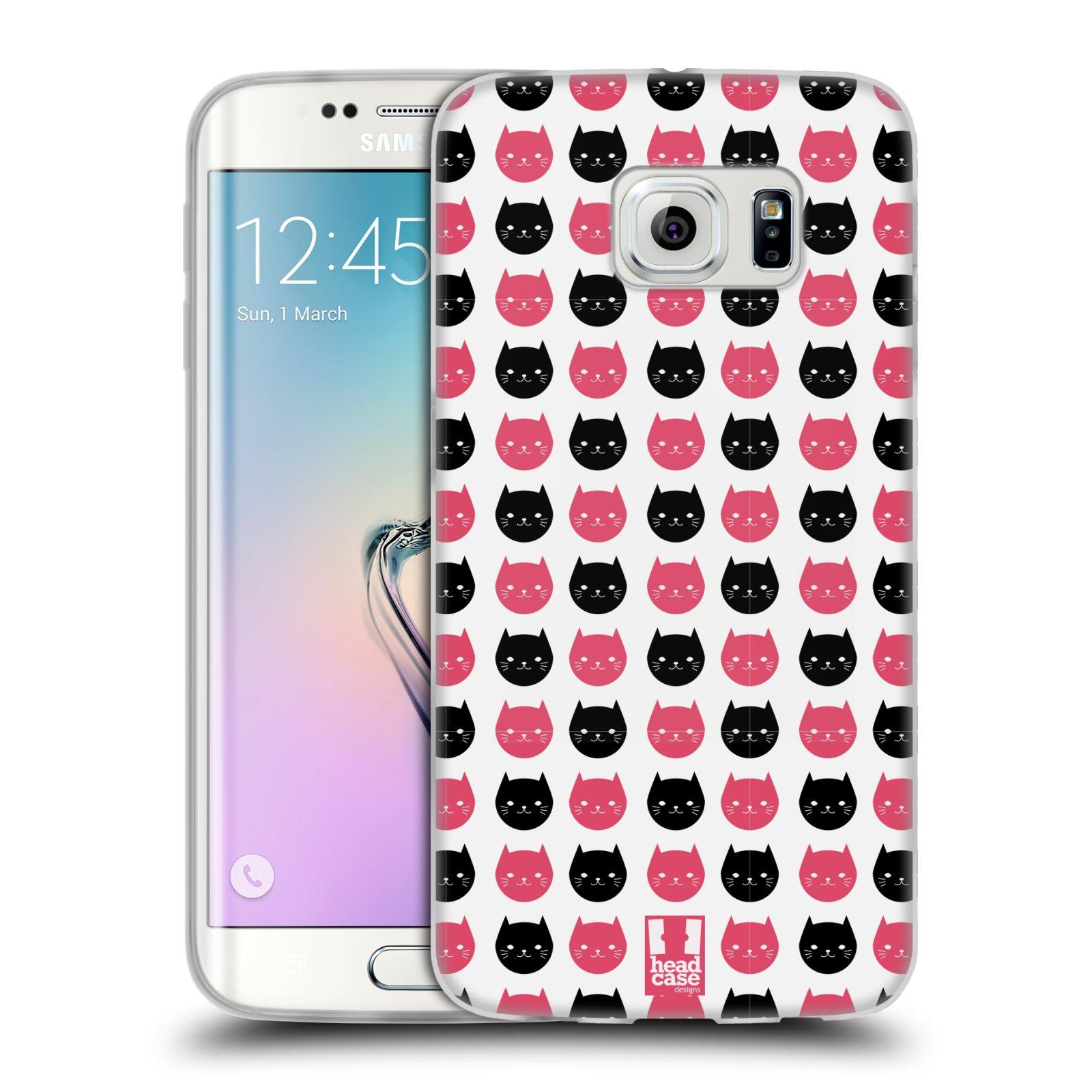 Silikonové pouzdro na mobil Samsung Galaxy S6 Edge HEAD CASE KOČKY Black and Pink (Silikonový kryt či obal na mobilní telefon Samsung Galaxy S6 Edge SM-G925F)