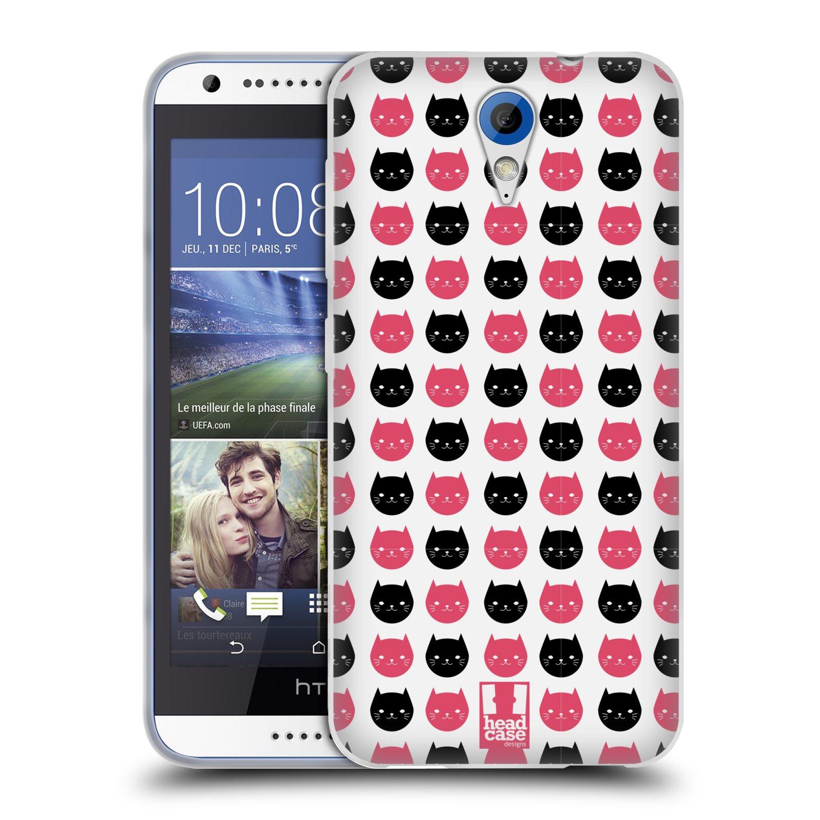 Silikonové pouzdro na mobil HTC Desire 620 HEAD CASE KOČKY Black and Pink (Silikonový kryt či obal na mobilní telefon HTC Desire 620)