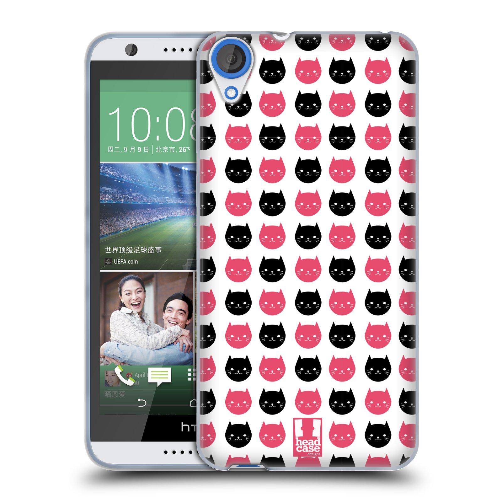 Silikonové pouzdro na mobil HTC Desire 820 HEAD CASE KOČKY Black and Pink (Silikonový kryt či obal na mobilní telefon HTC Desire 820)