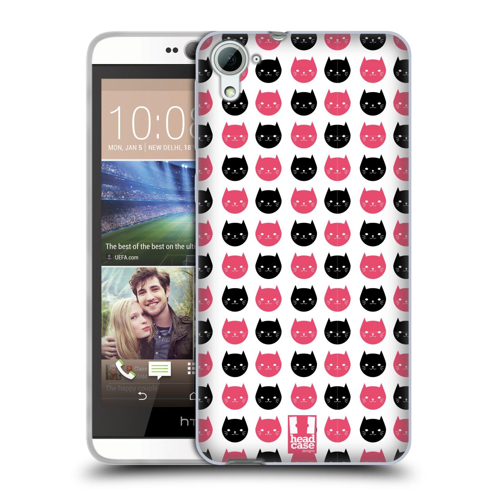 Silikonové pouzdro na mobil HTC Desire 826 HEAD CASE KOČKY Black and Pink (Silikonový kryt či obal na mobilní telefon HTC Desire 826 Dual SIM)