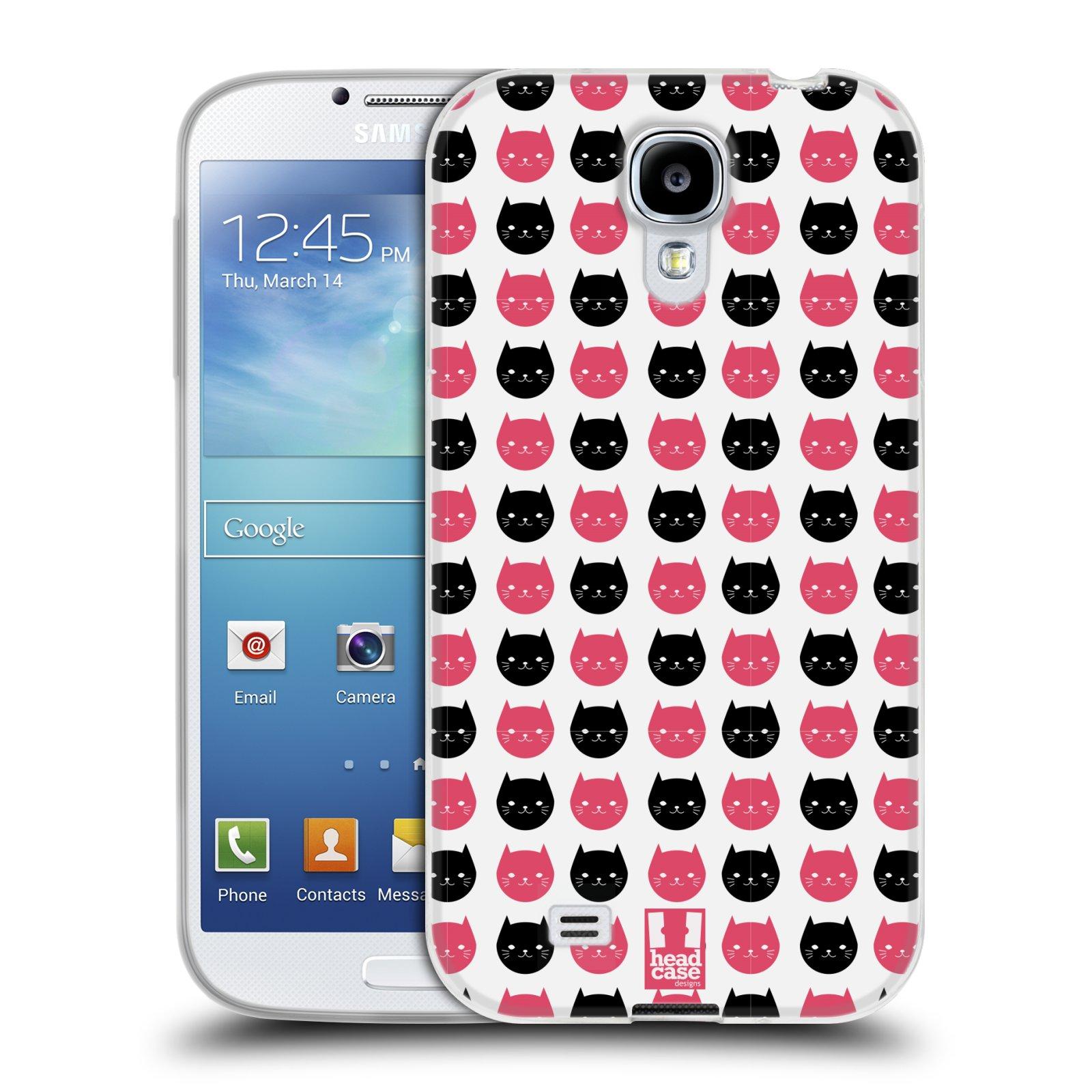 Silikonové pouzdro na mobil Samsung Galaxy S4 HEAD CASE KOČKY Black and Pink (Silikonový kryt či obal na mobilní telefon Samsung Galaxy S4 GT-i9505 / i9500)
