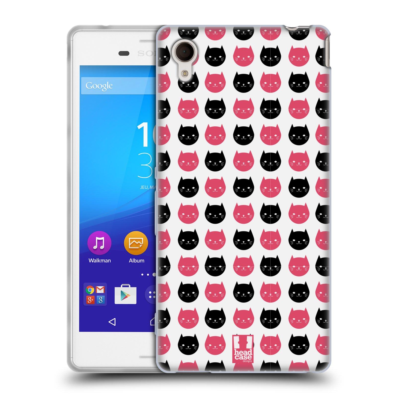 Silikonové pouzdro na mobil Sony Xperia M4 Aqua E2303 HEAD CASE KOČKY Black and Pink (Silikonový kryt či obal na mobilní telefon Sony Xperia M4 Aqua a M4 Aqua Dual SIM)