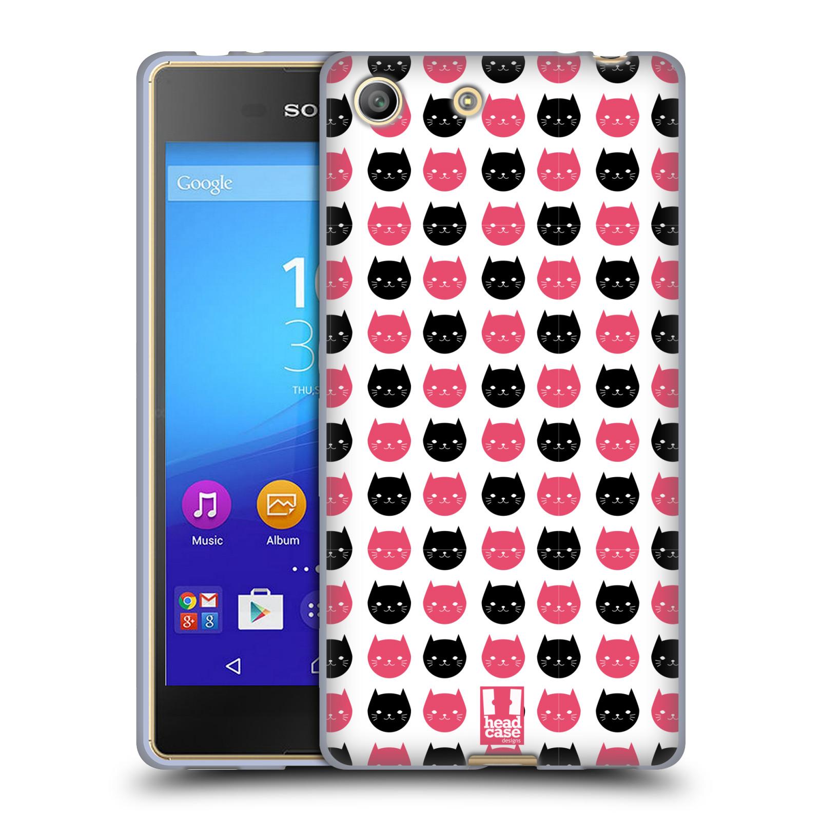Silikonové pouzdro na mobil Sony Xperia M5 HEAD CASE KOČKY Black and Pink (Silikonový kryt či obal na mobilní telefon Sony Xperia M5 Dual SIM / Aqua)
