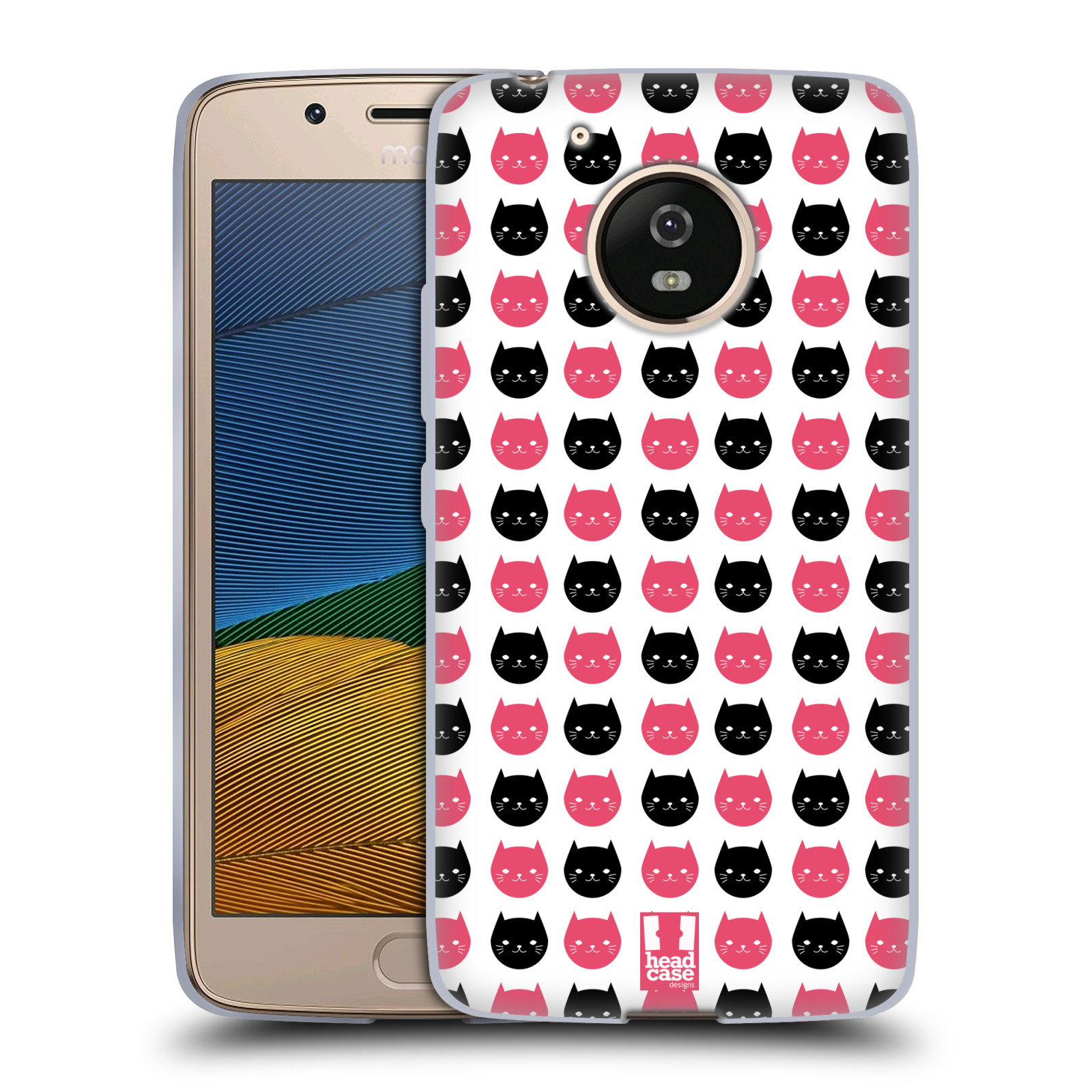 Silikonové pouzdro na mobil Lenovo Moto G5 - Head Case KOČKY Black and Pink (Silikonový kryt či obal na mobilní telefon Lenovo Moto G5)