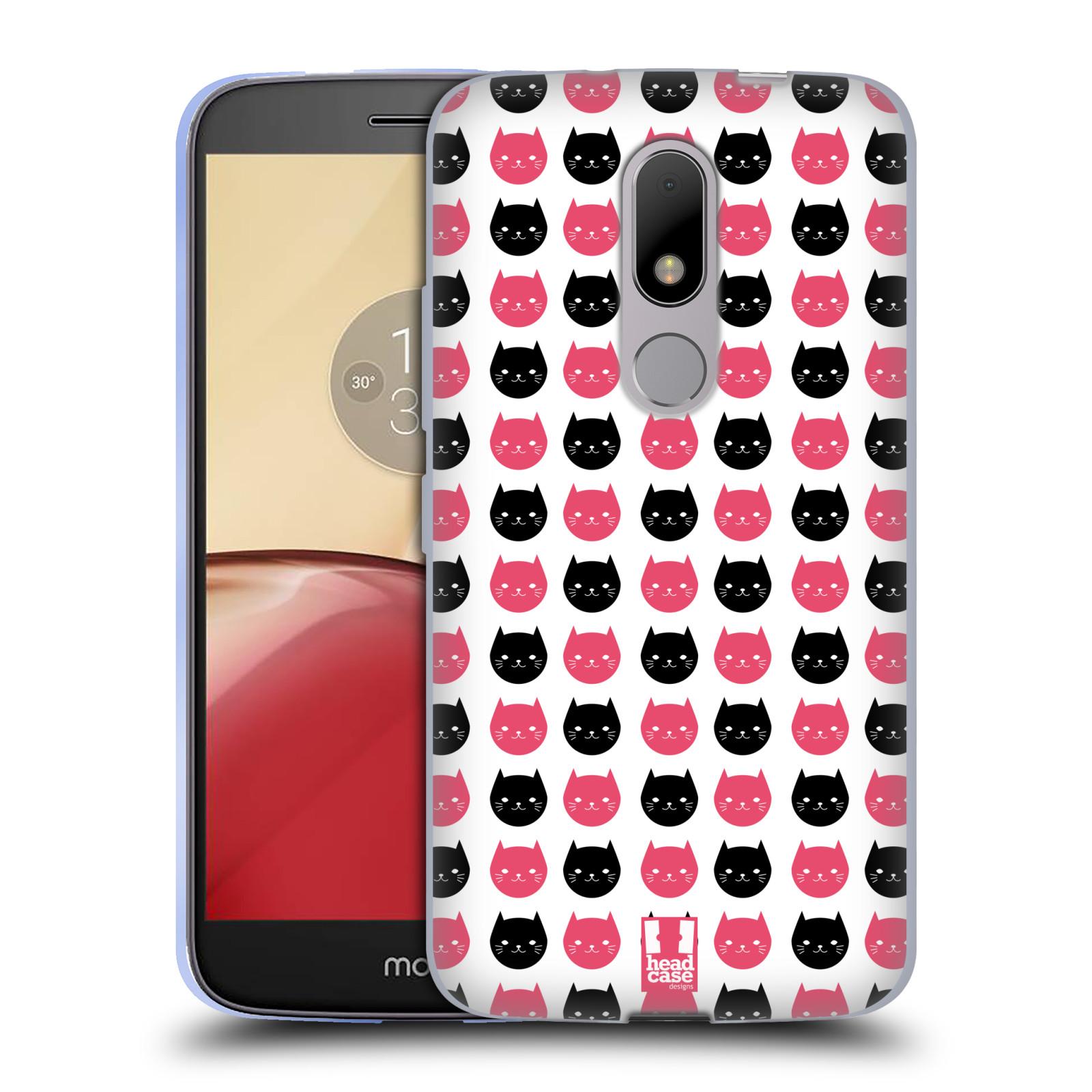 Silikonové pouzdro na mobil Lenovo Moto M - Head Case KOČKY Black and Pink (Silikonový kryt či obal na mobilní telefon Lenovo Moto M (Dual Sim))