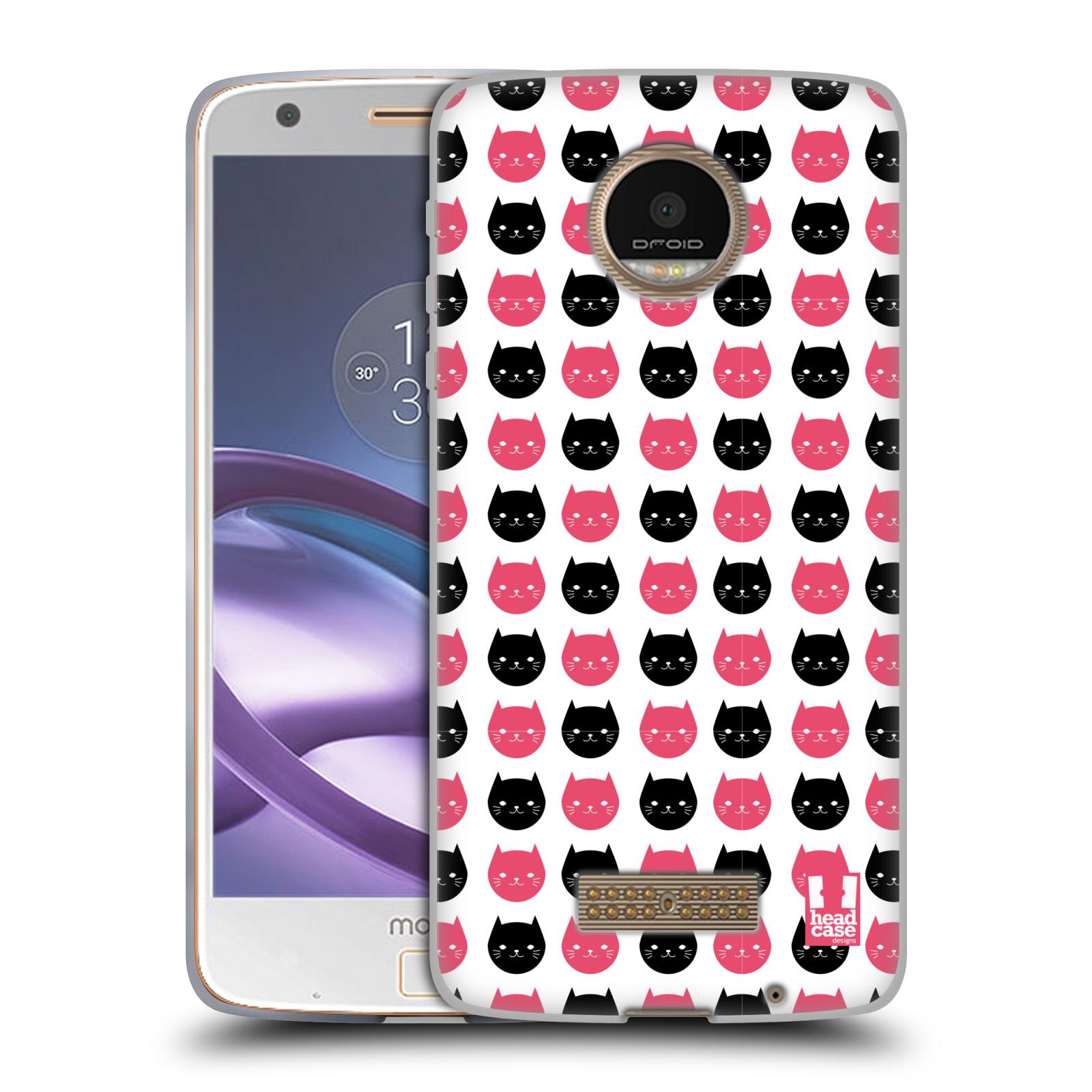 Silikonové pouzdro na mobil Lenovo Moto Z HEAD CASE KOČKY Black and Pink (Silikonový kryt či obal na mobilní telefon Lenovo Moto Z)