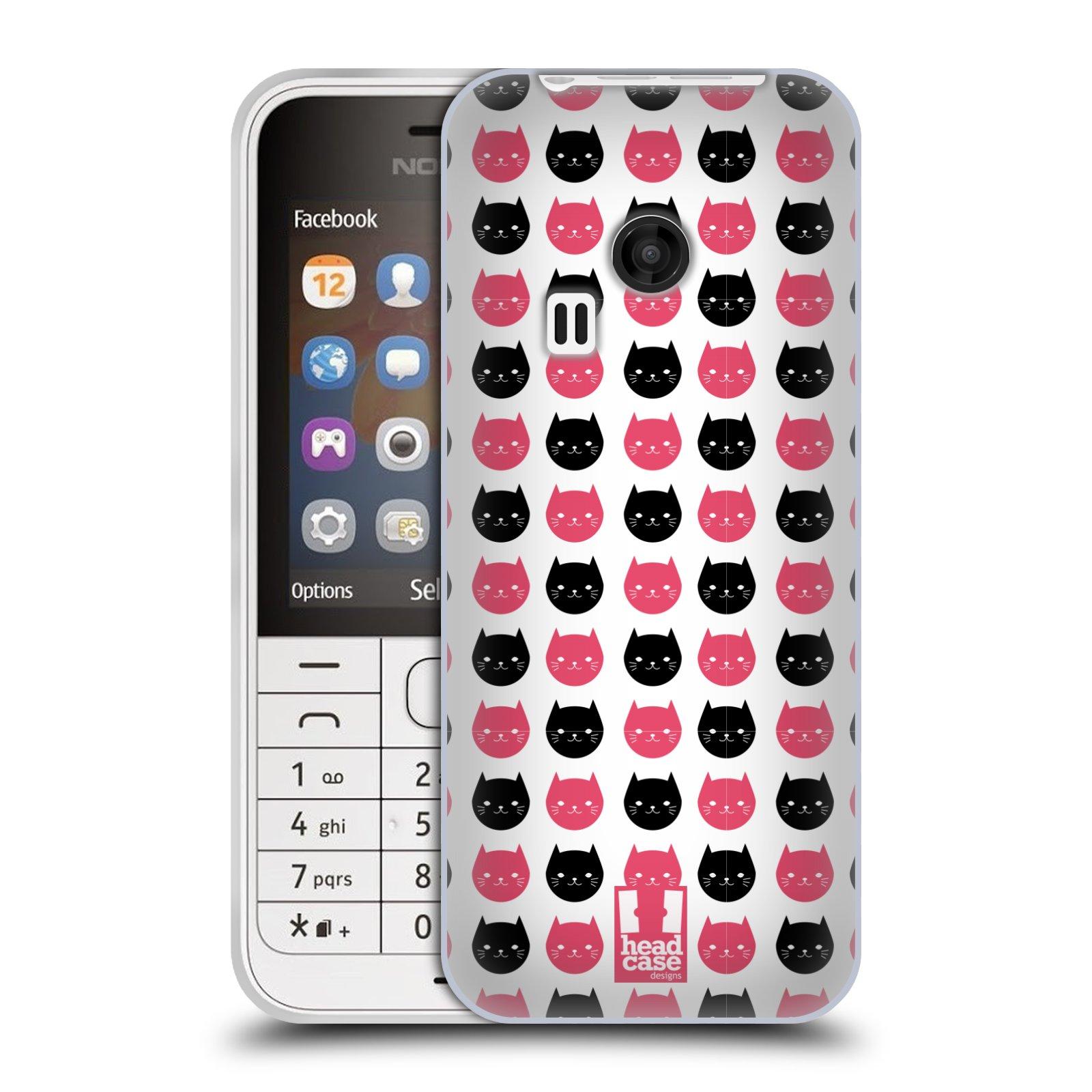 Silikonové pouzdro na mobil Nokia 220 HEAD CASE KOČKY Black and Pink (Silikonový kryt či obal na mobilní telefon Nokia 220 a 220 Dual SIM)