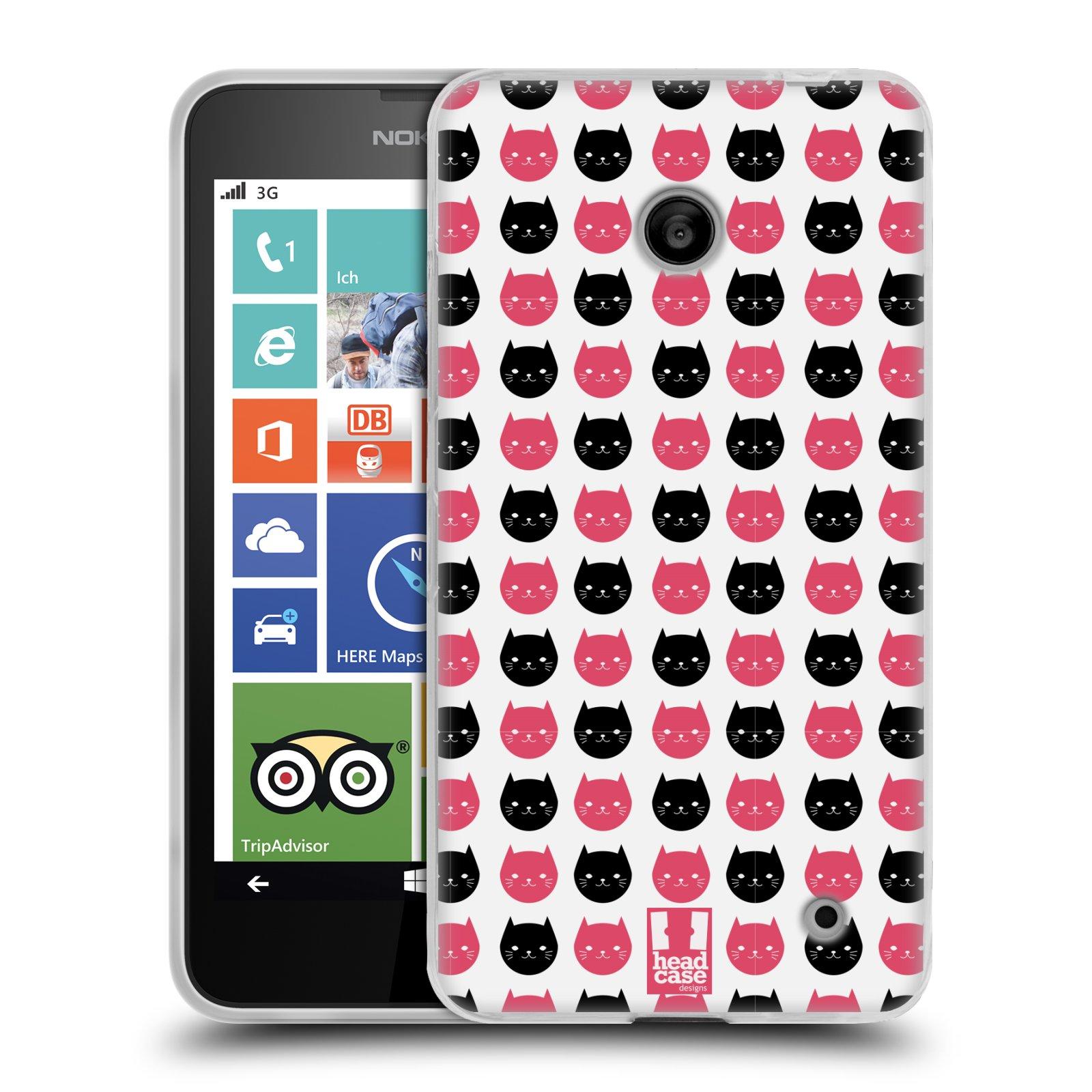 Silikonové pouzdro na mobil Nokia Lumia 635 HEAD CASE KOČKY Black and Pink (Silikonový kryt či obal na mobilní telefon Nokia Lumia 635 Dual SIM)