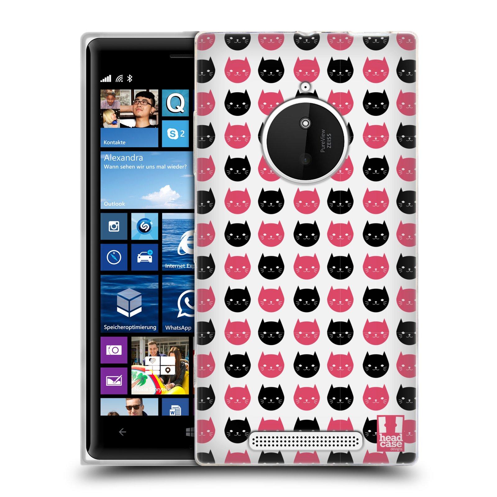 Silikonové pouzdro na mobil Nokia Lumia 830 HEAD CASE KOČKY Black and Pink (Silikonový kryt či obal na mobilní telefon Nokia Lumia 830)