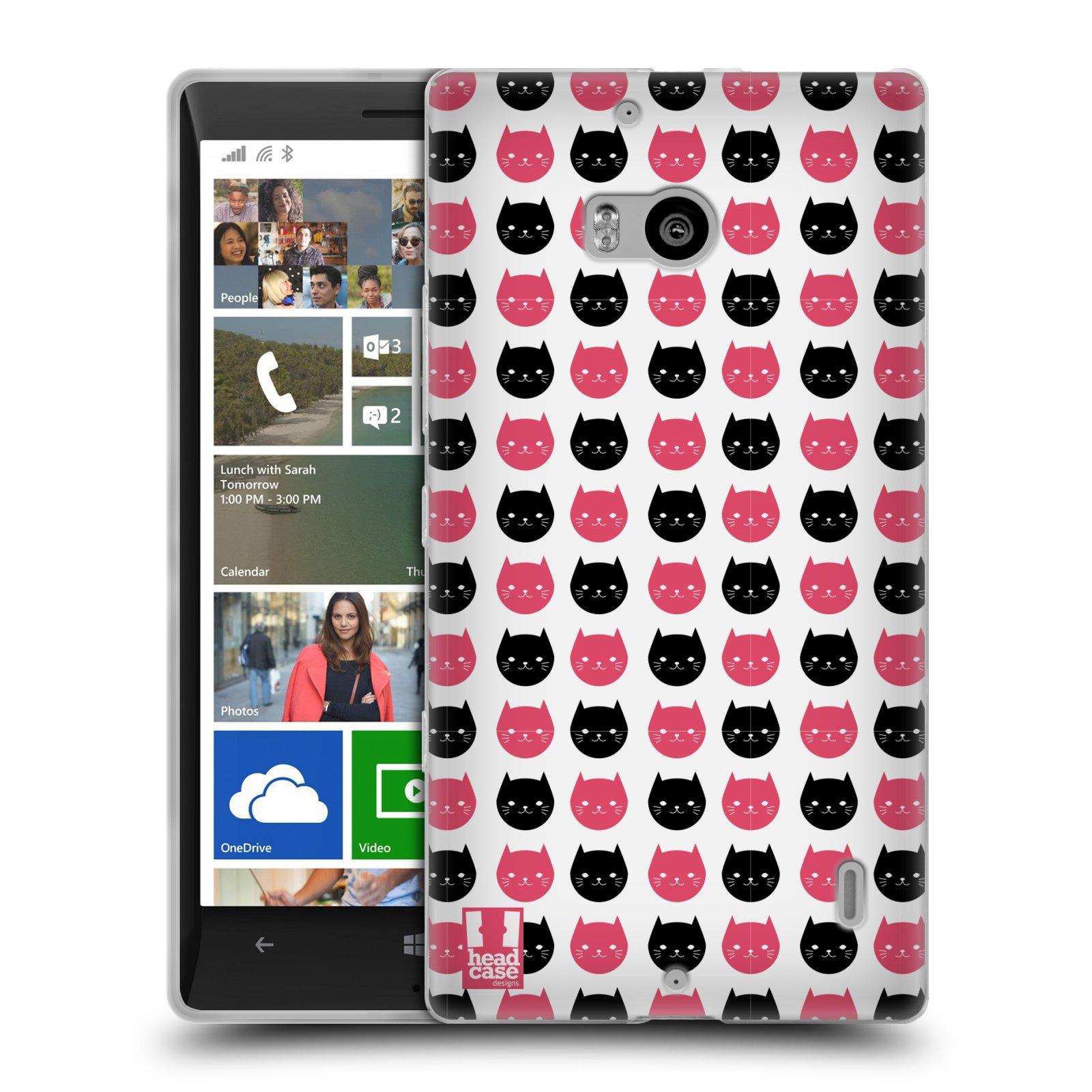 Silikonové pouzdro na mobil Nokia Lumia 930 HEAD CASE KOČKY Black and Pink (Silikonový kryt či obal na mobilní telefon Nokia Lumia 930)