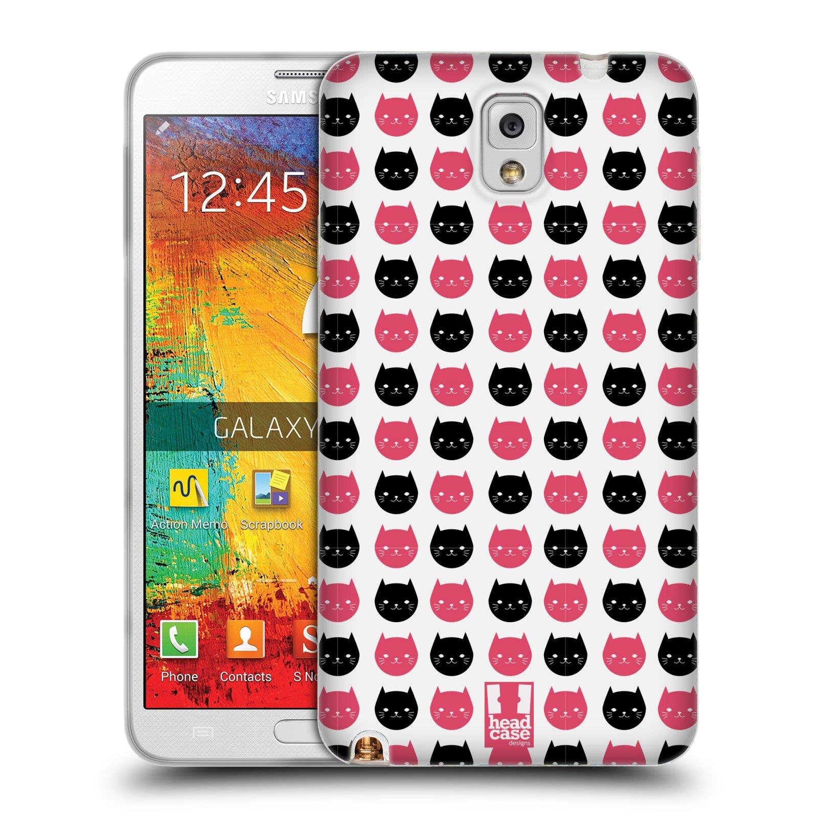 Silikonové pouzdro na mobil Samsung Galaxy Note 3 HEAD CASE KOČKY Black and Pink (Silikonový kryt či obal na mobilní telefon Samsung Galaxy Note 3 SM-N9005)