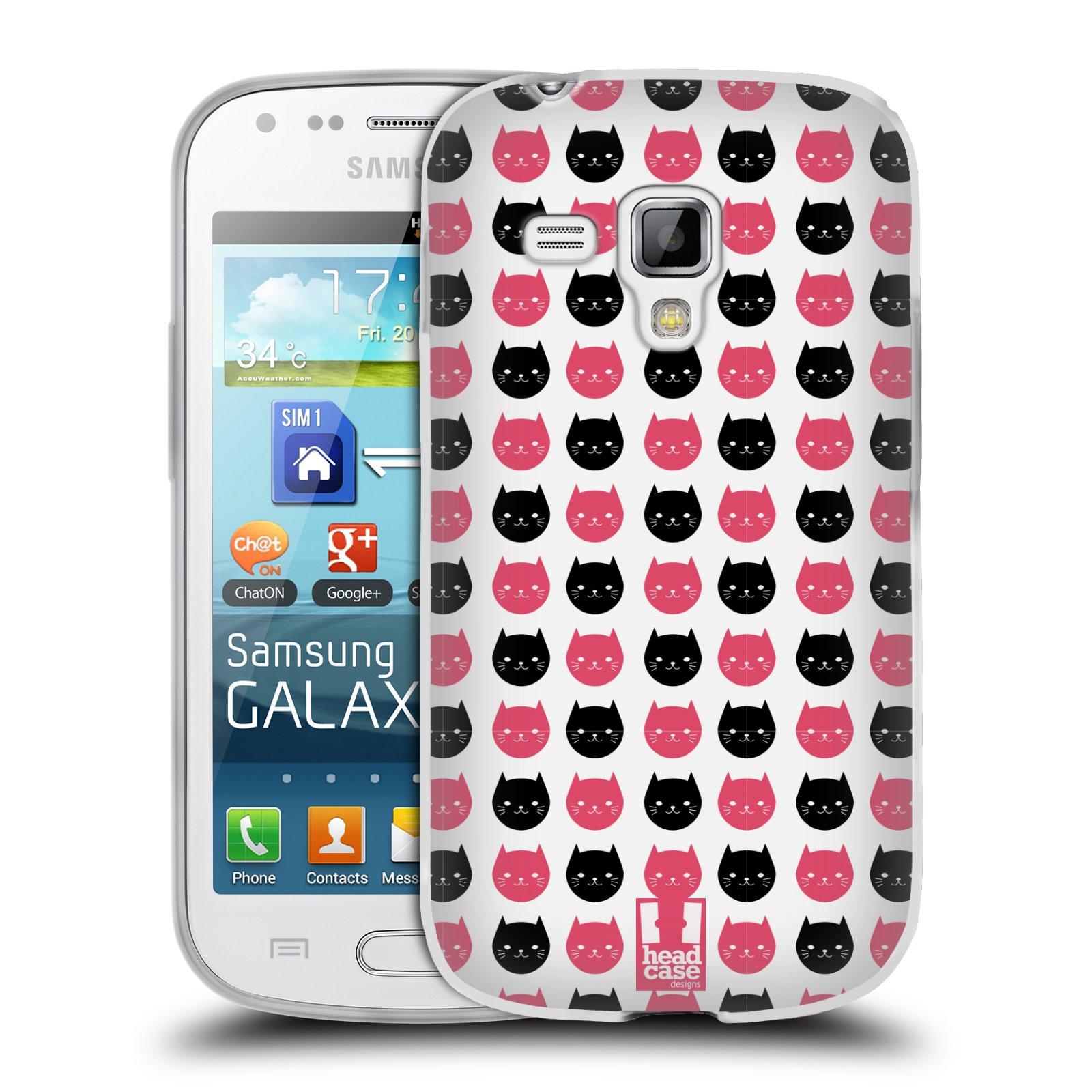 Silikonové pouzdro na mobil Samsung Galaxy S Duos HEAD CASE KOČKY Black and Pink (Silikonový kryt či obal na mobilní telefon Samsung Galaxy S Duos GT-S7562)