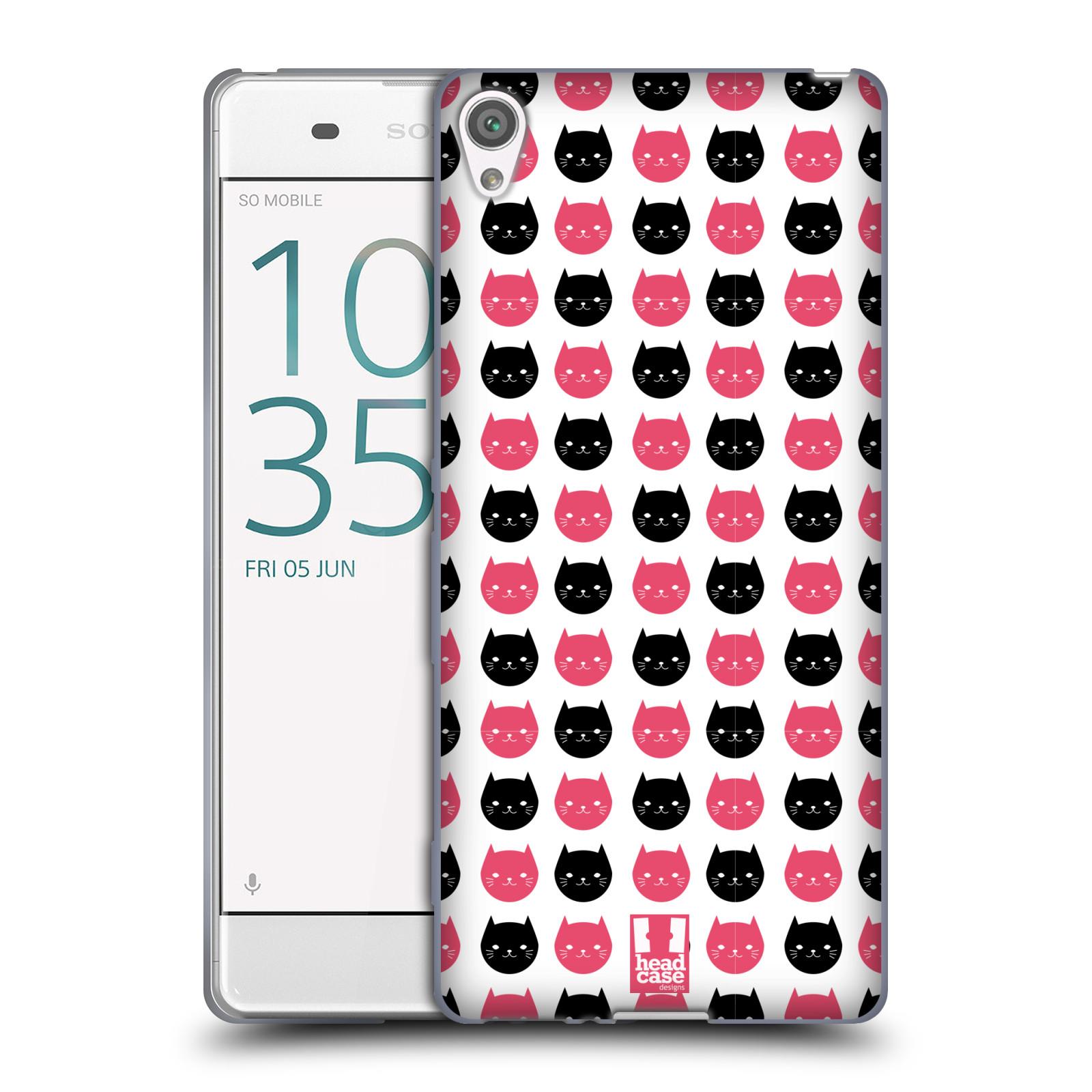 Silikonové pouzdro na mobil Sony Xperia XA HEAD CASE KOČKY Black and Pink (Silikonový kryt či obal na mobilní telefon Sony Xperia XA F3111 / Dual SIM F3112)