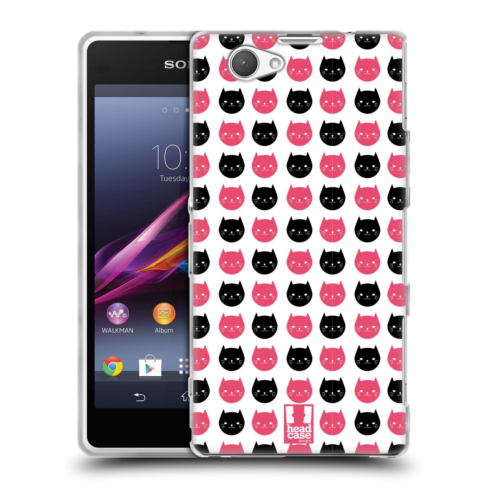 Silikonové pouzdro na mobil Sony Xperia Z1 Compact D5503 HEAD CASE KOČKY Black and Pink (Silikonový kryt či obal na mobilní telefon Sony Xperia Z1 Compact)