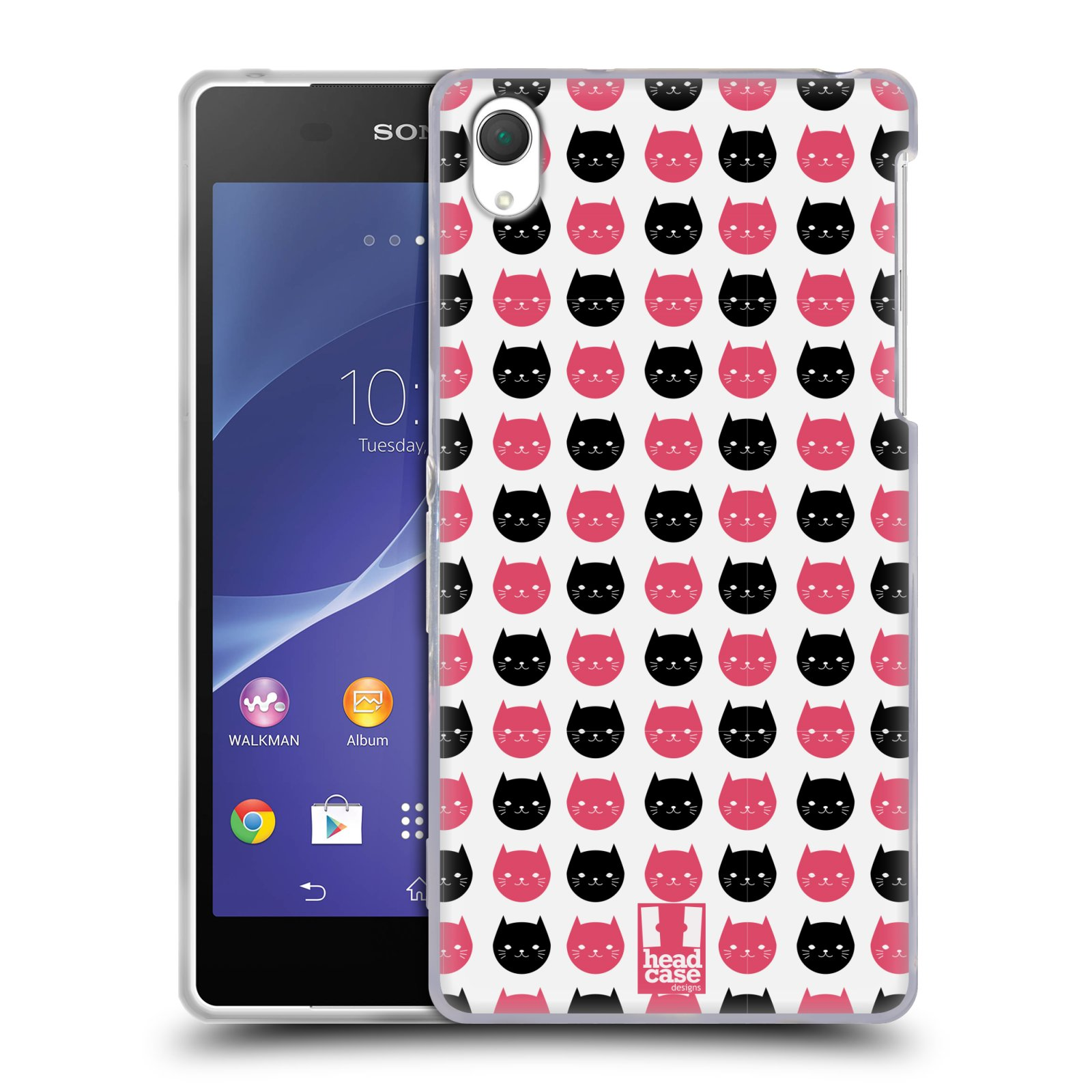 Silikonové pouzdro na mobil Sony Xperia Z2 D6503 HEAD CASE KOČKY Black and Pink (Silikonový kryt či obal na mobilní telefon Sony Xperia Z2)