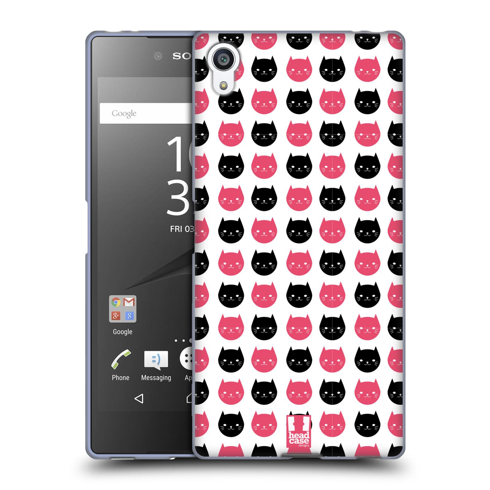 Silikonové pouzdro na mobil Sony Xperia Z5 Premium HEAD CASE KOČKY Black and Pink