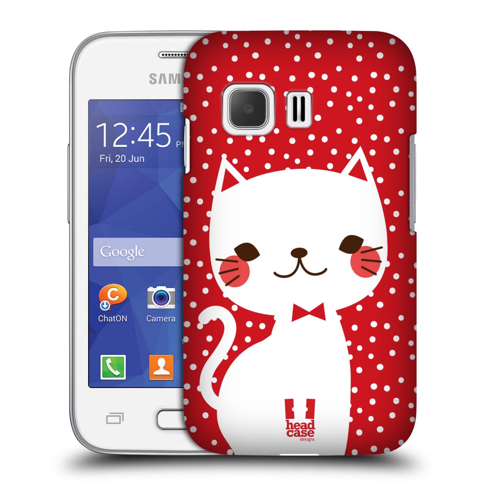 Plastové pouzdro na mobil Samsung Galaxy Young 2 HEAD CASE KOČIČKA BÍLÁ NA ČERVENÉ (Kryt či obal na mobilní telefon Samsung Galaxy Young 2 SM-G130)