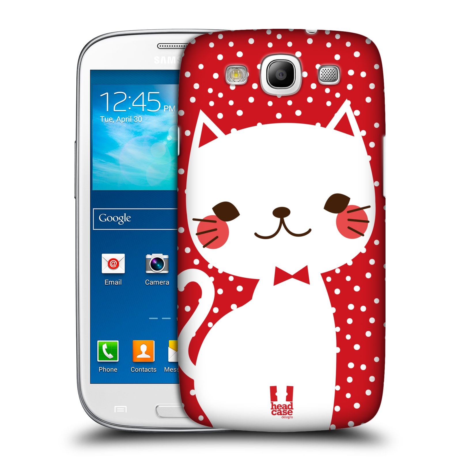 Plastové pouzdro na mobil Samsung Galaxy S3 Neo HEAD CASE KOČIČKA BÍLÁ NA ČERVENÉ (Kryt či obal na mobilní telefon Samsung Galaxy S3 Neo GT-i9301i)