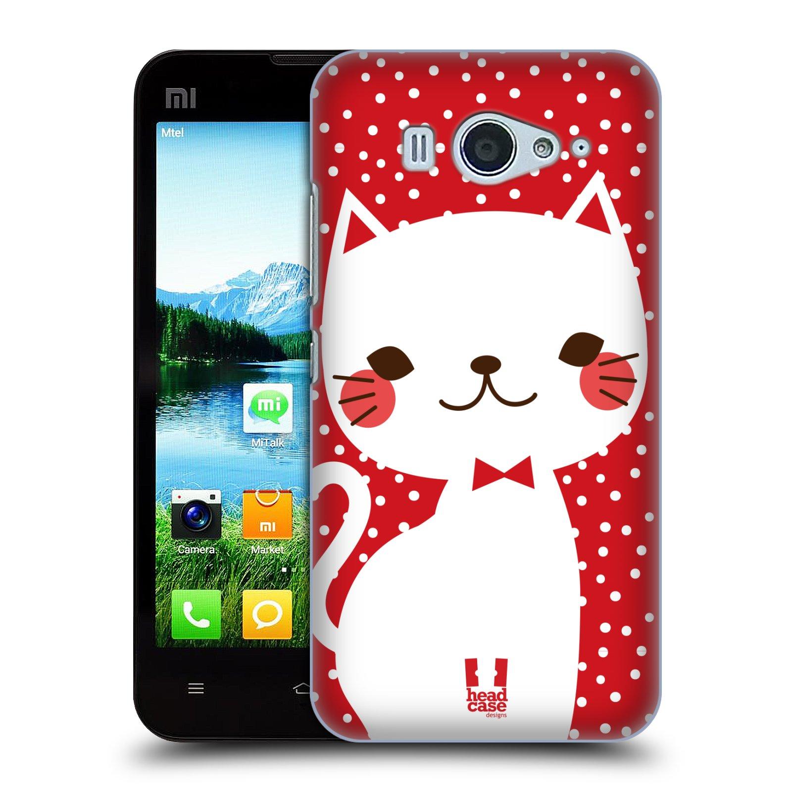 Plastové pouzdro na mobil Xiaomi Mi2S HEAD CASE KOČIČKA BÍLÁ NA ČERVENÉ (Kryt či obal na mobilní telefon Xiaomi Mi2S)