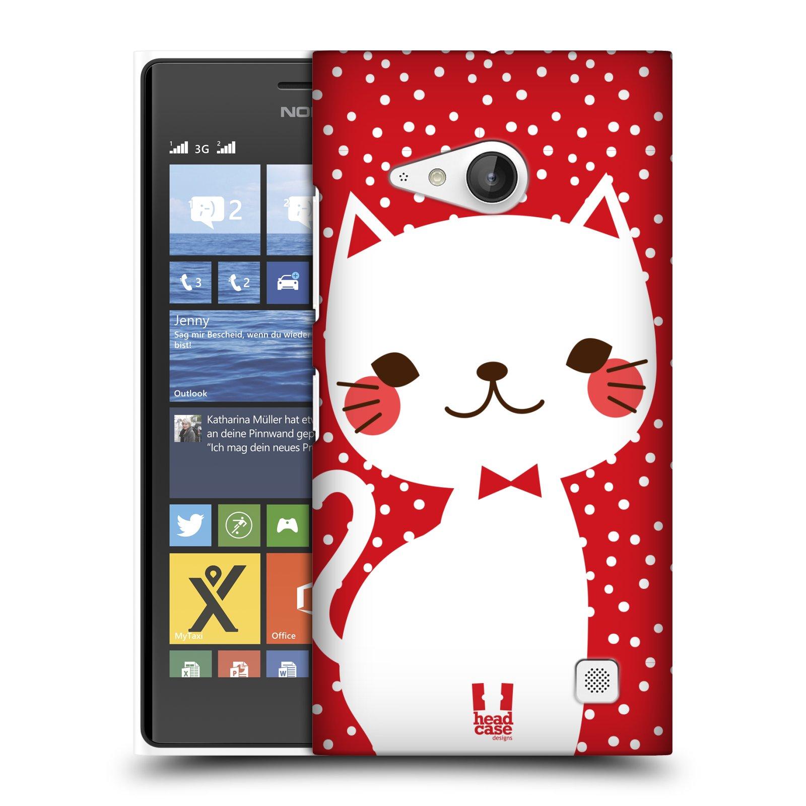 Plastové pouzdro na mobil Nokia Lumia 730 Dual SIM HEAD CASE KOČIČKA BÍLÁ NA ČERVENÉ (Kryt či obal na mobilní telefon Nokia Lumia 730 Dual SIM)