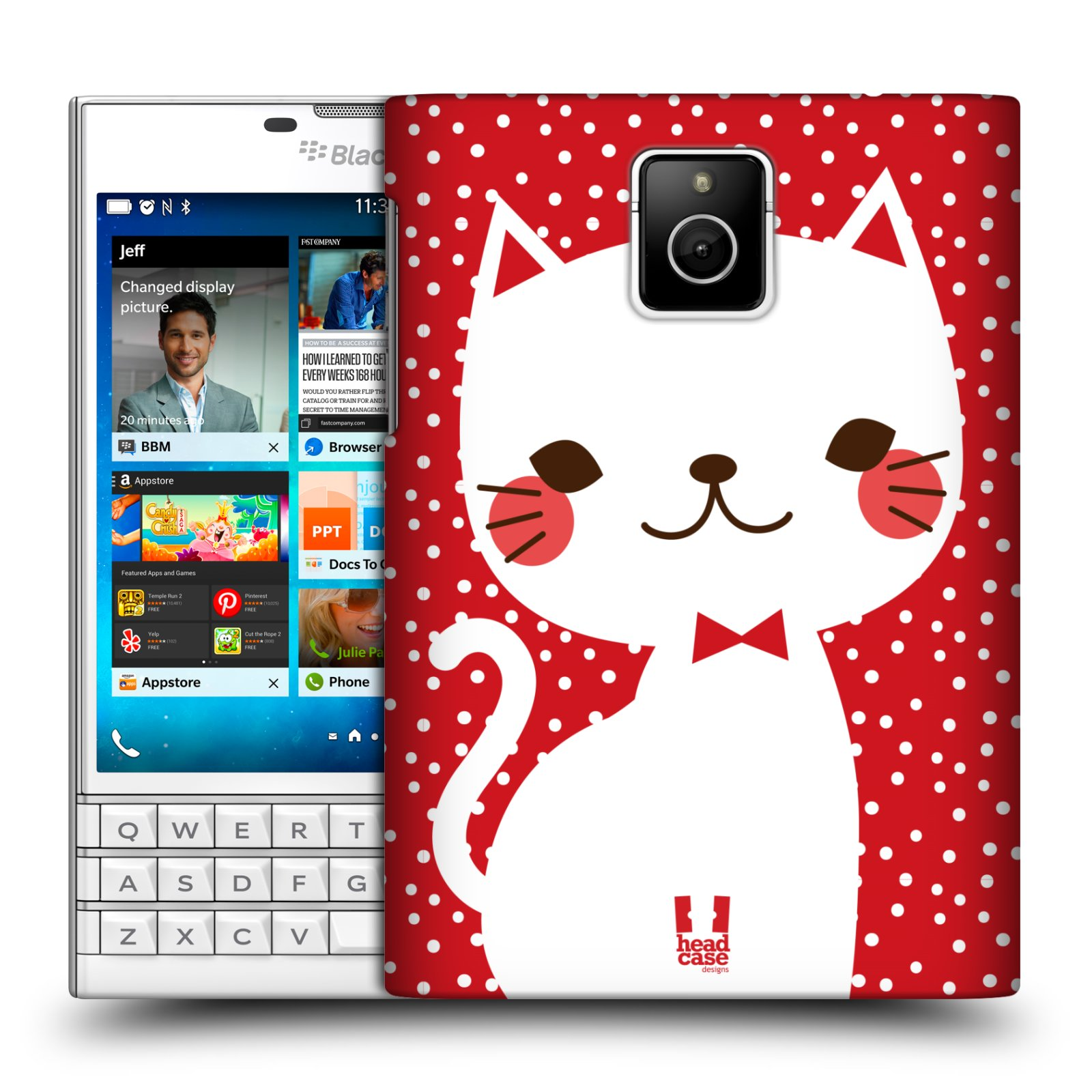 Plastové pouzdro na mobil Blackberry PASSPORT HEAD CASE KOČIČKA BÍLÁ NA ČERVENÉ (Kryt či obal na mobilní telefon Blackberry PASSPORT)