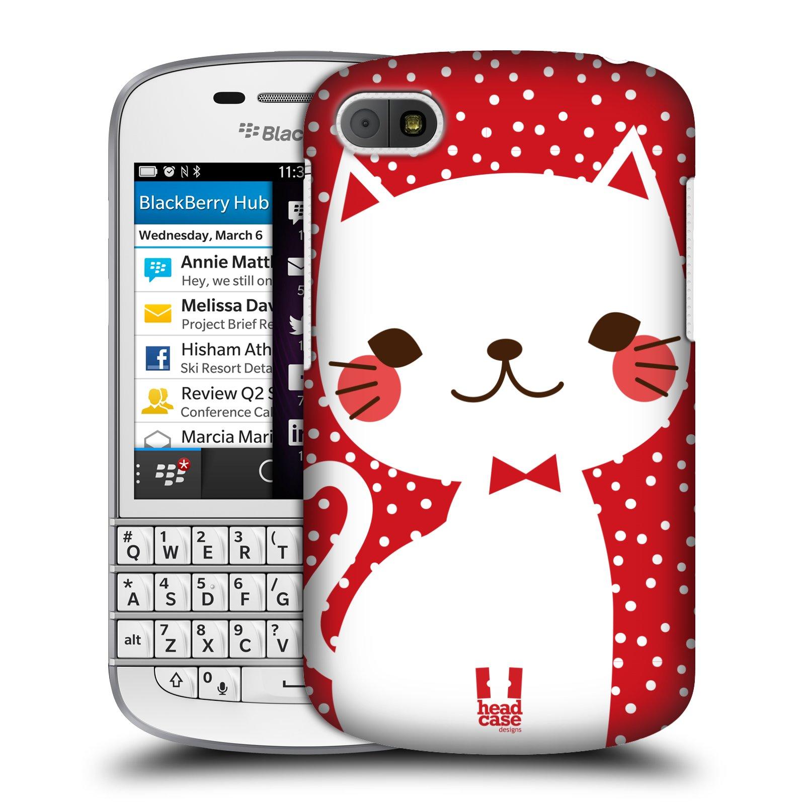 Plastové pouzdro na mobil Blackberry Q10 HEAD CASE KOČIČKA BÍLÁ NA ČERVENÉ (Kryt či obal na mobilní telefon Blackberry Q10)