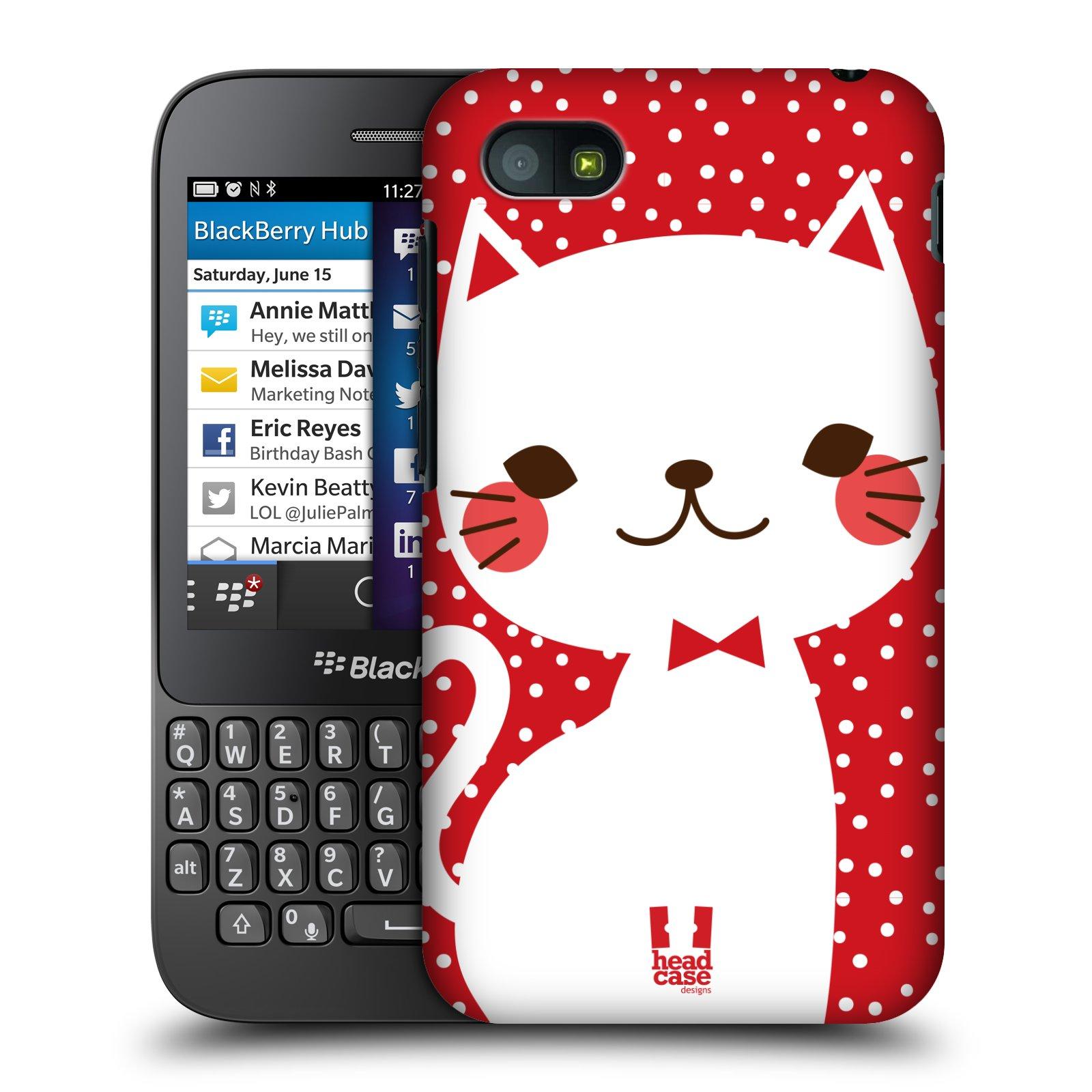 Plastové pouzdro na mobil Blackberry Q5 HEAD CASE KOČIČKA BÍLÁ NA ČERVENÉ (Kryt či obal na mobilní telefon Blackberry Q5)